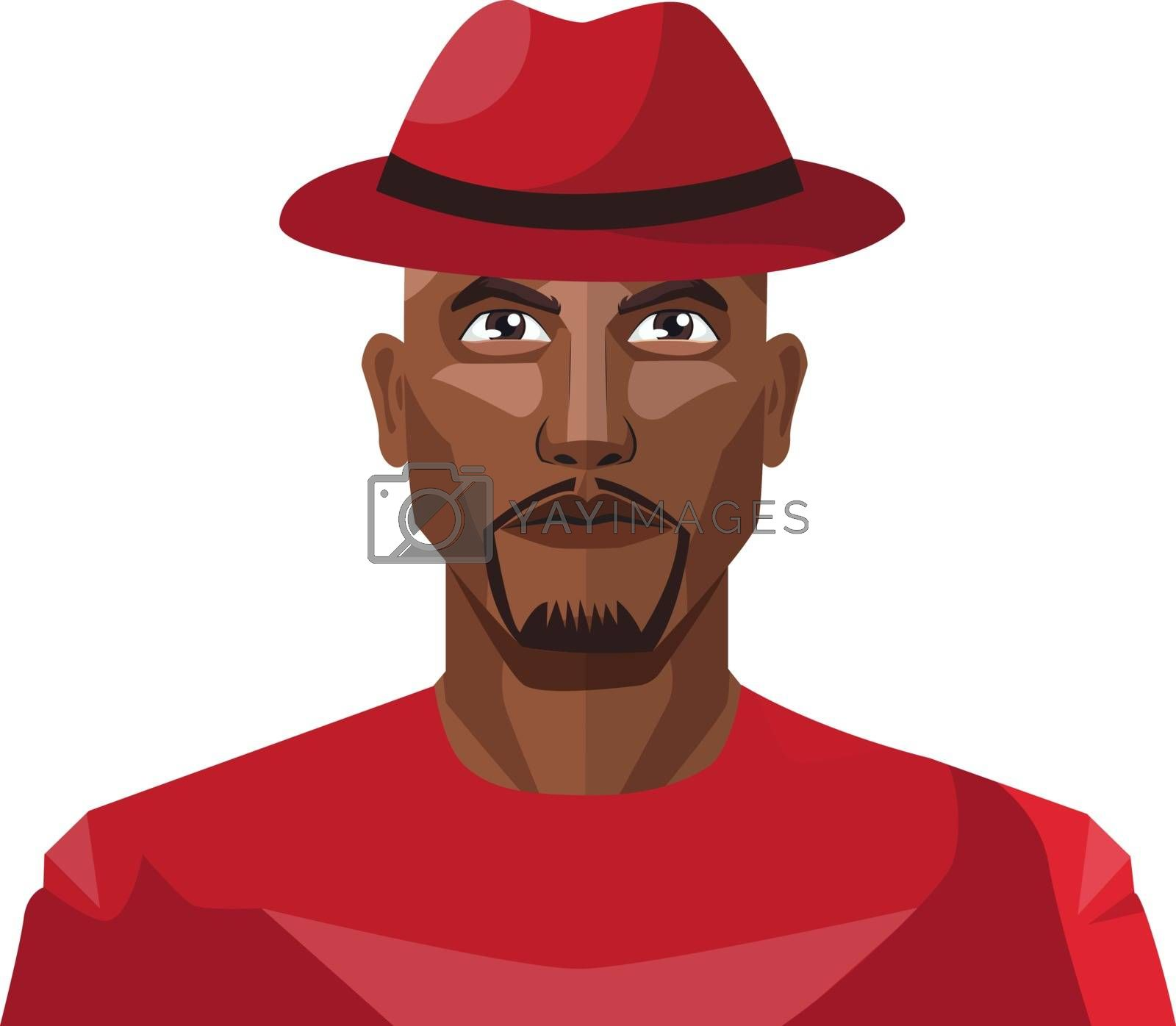 Royalty free image of African male wearing red hat illustration vector on white backgr by Morphart