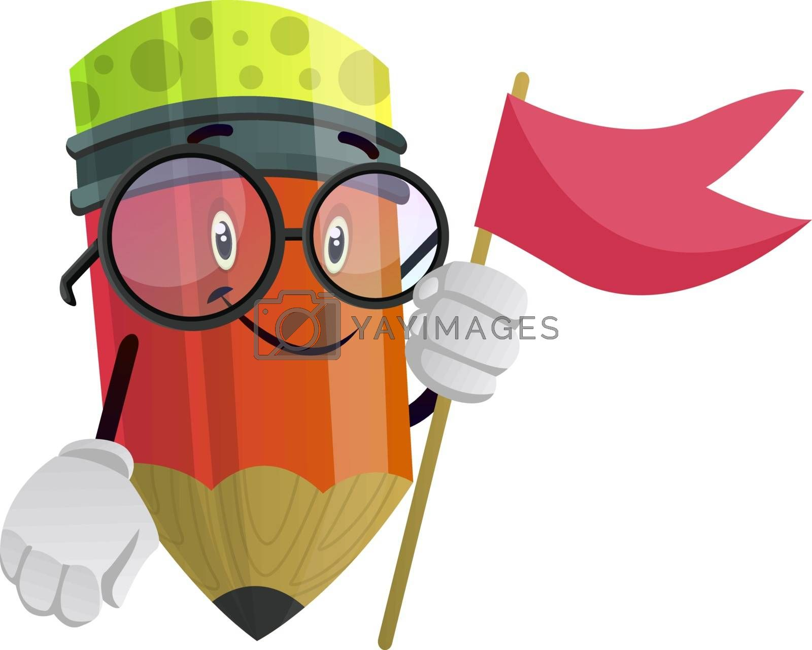 Royalty free image of Red flag in red pencils hands illustration vector on white backg by Morphart