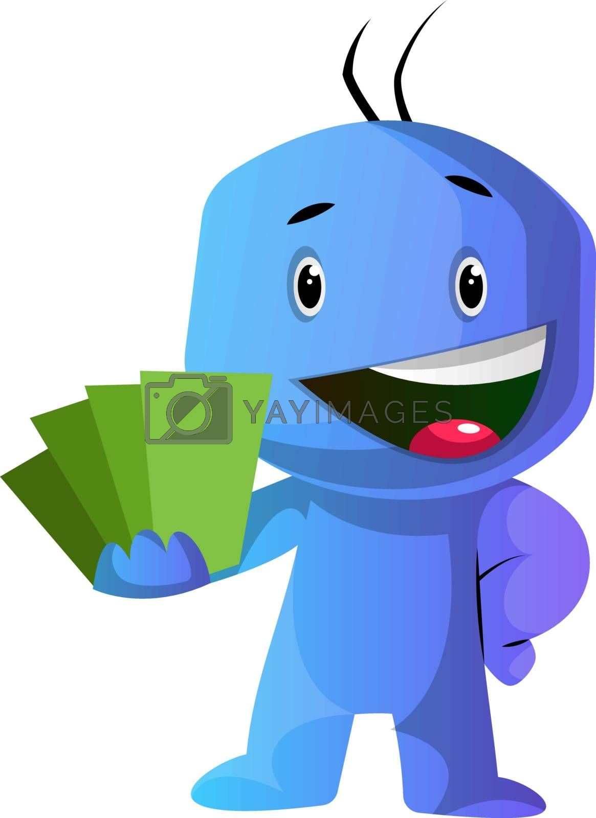 Royalty free image of Blue cartoon caracter showing green cards illustration vector on by Morphart