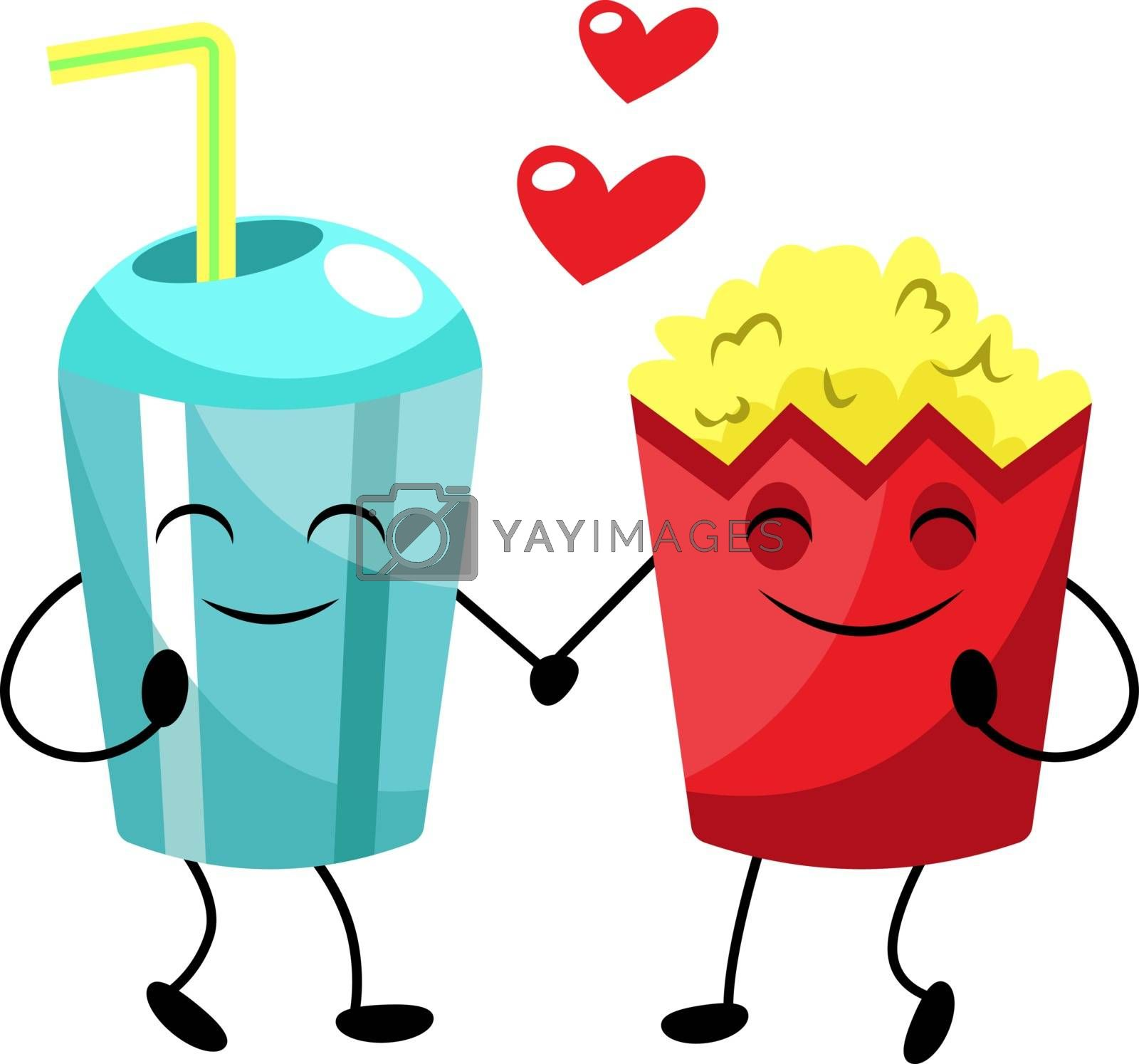Royalty free image of Popcorn and soda in love illustration vector on white background by Morphart