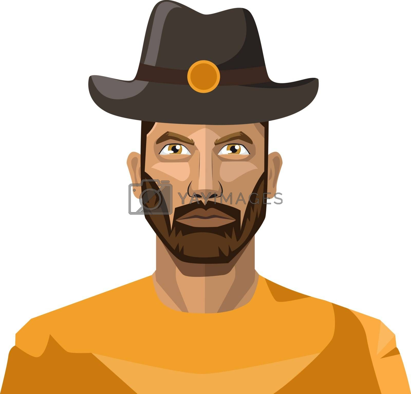 Royalty free image of Guy with beard wearing hat illustration vector on white backgrou by Morphart