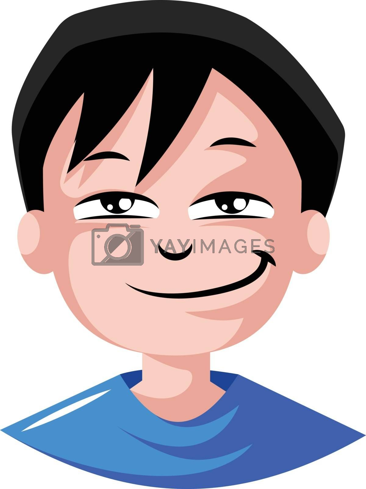 Royalty free image of Young man in blue top feeling sexy illustration vector on white  by Morphart