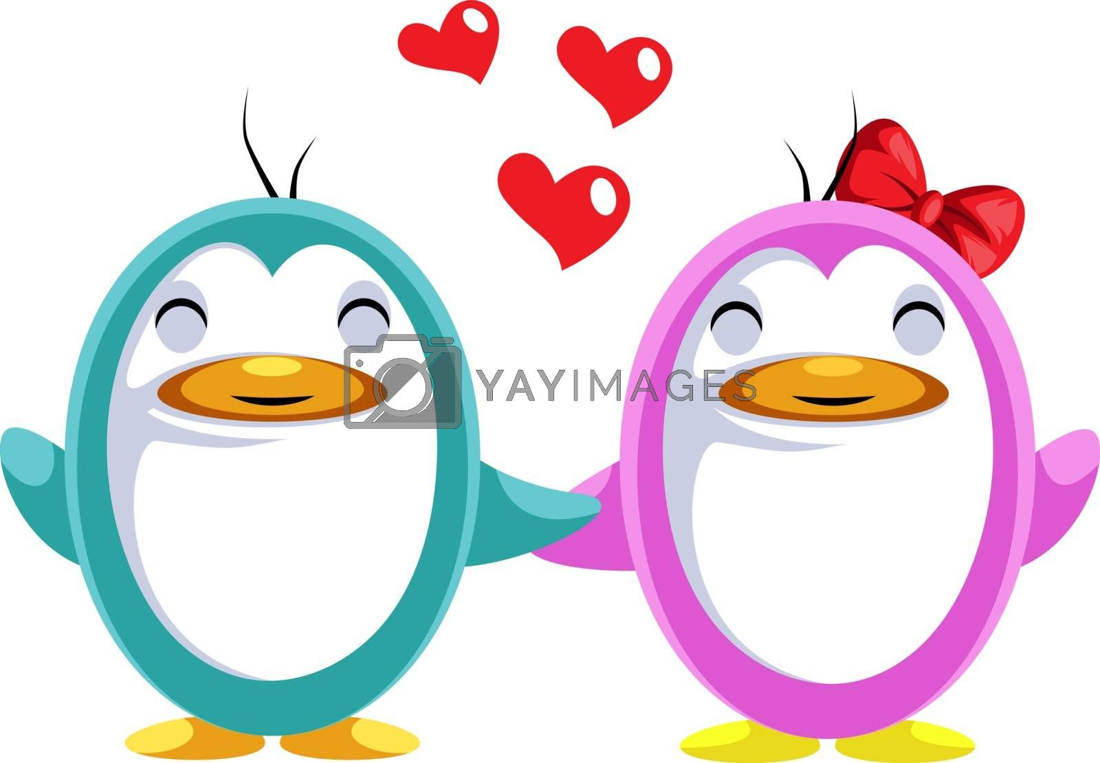 Royalty free image of Blue and pink penguin in love illustration vector on white backg by Morphart