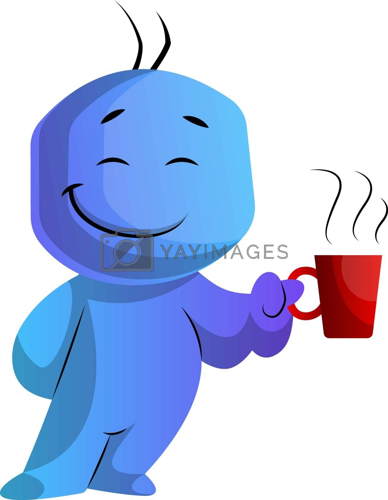 Royalty free image of Blue cartoon caracter with a cup illustration vector on white ba by Morphart
