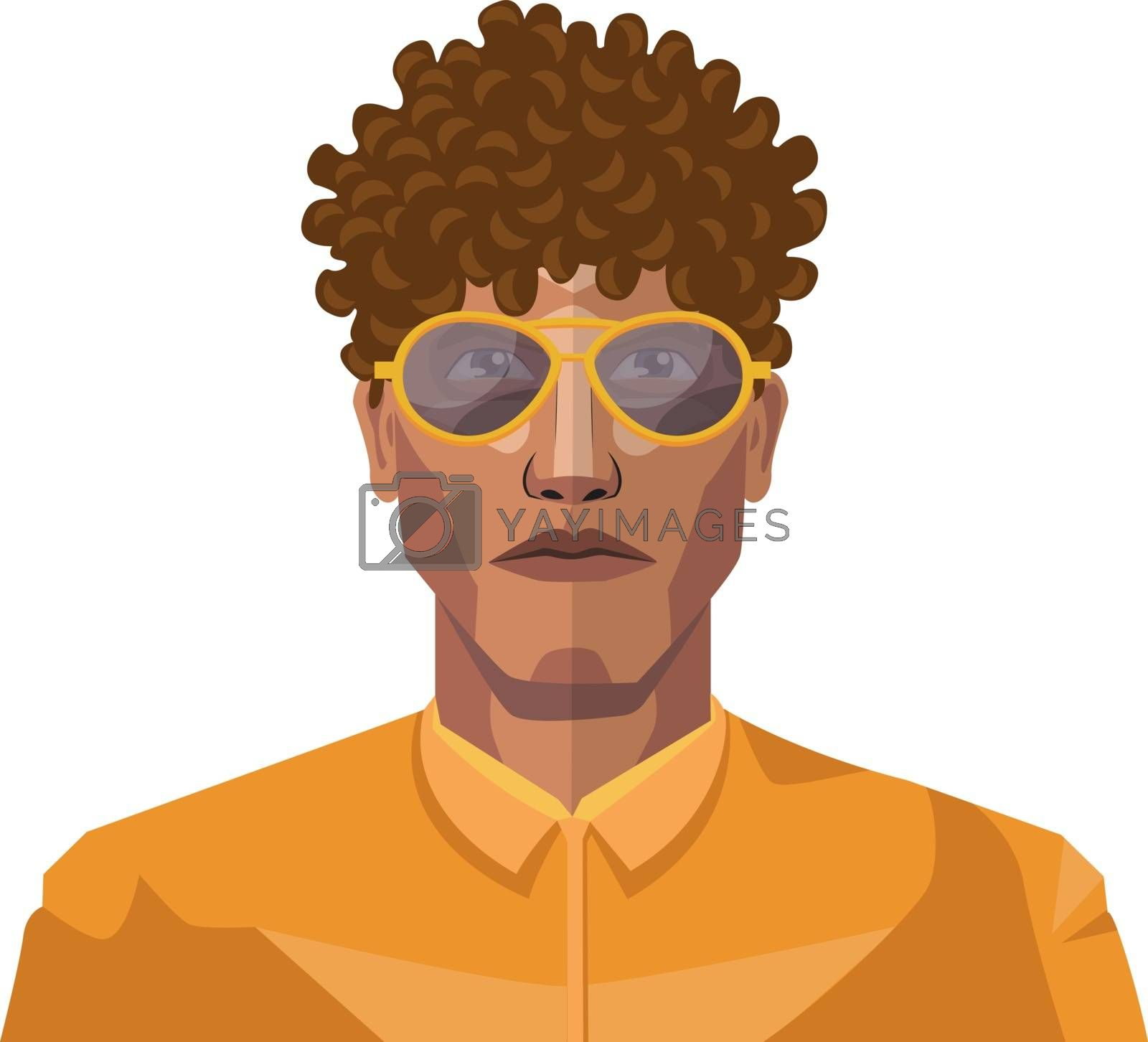 Royalty free image of Handsome guy with short curly hair illustration vector on white  by Morphart
