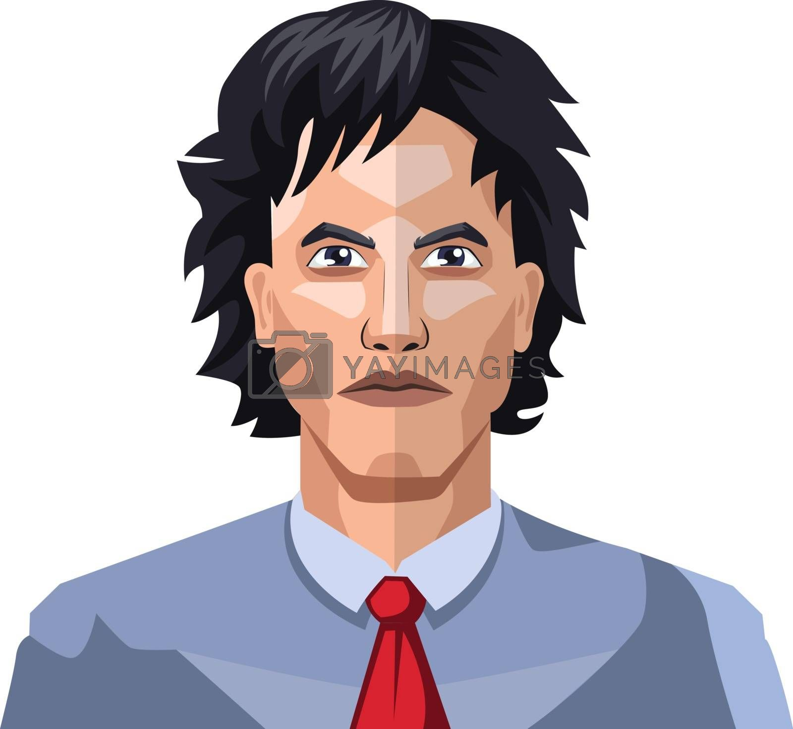 Royalty free image of Handsome guy with long black hair illustration vector on white b by Morphart