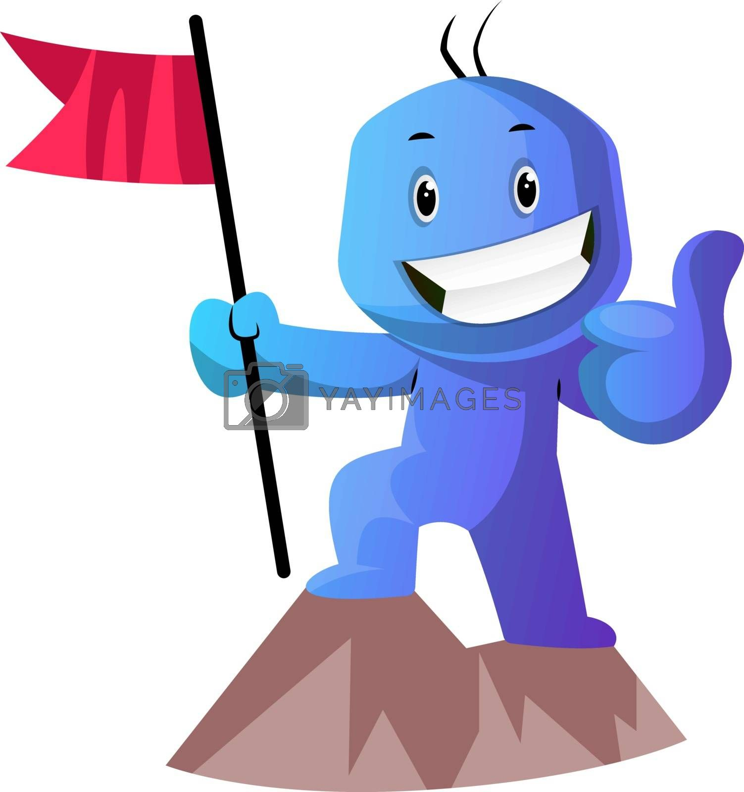 Royalty free image of Blue cartoon caracter on a mountain with a flag illustration vec by Morphart
