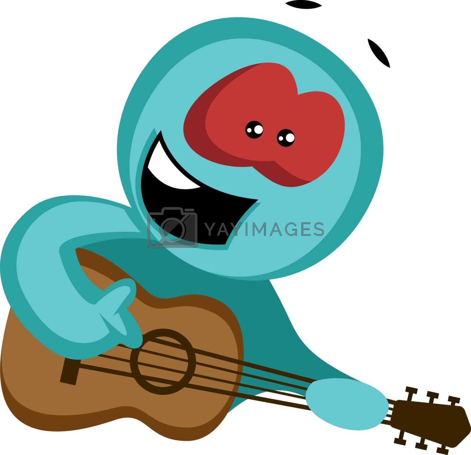 Royalty free image of Green character serenading to his girl illustration vector on wh by Morphart