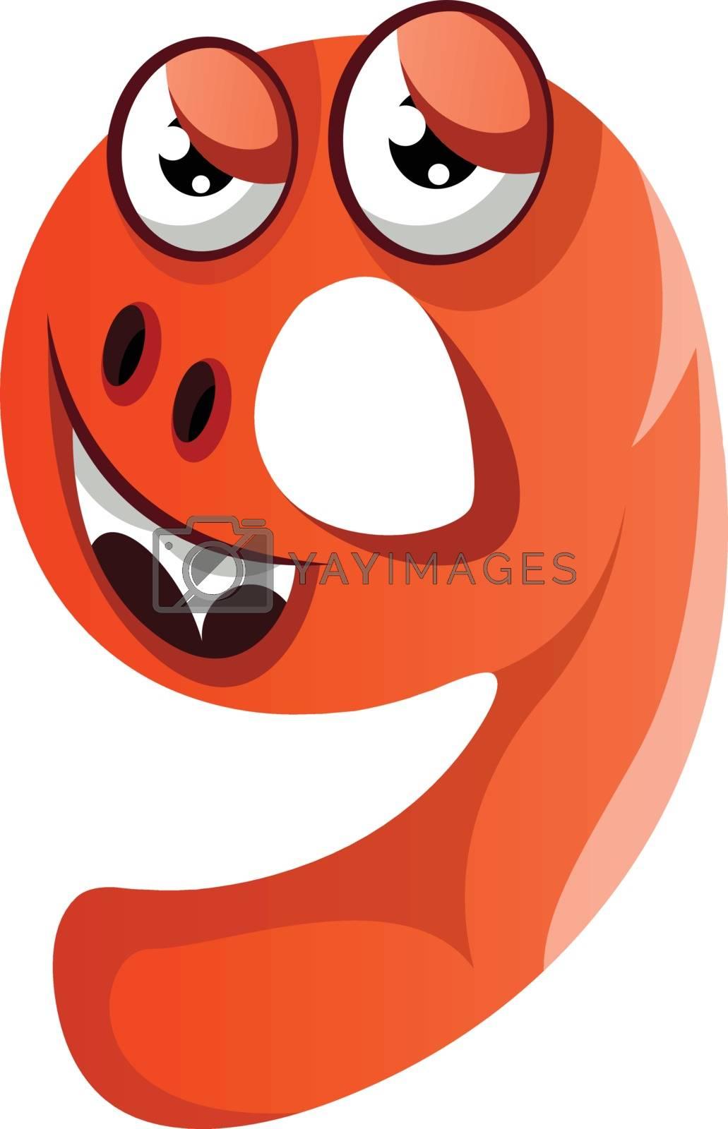 Royalty free image of Orange monster in number nine shape illustration vector on white by Morphart