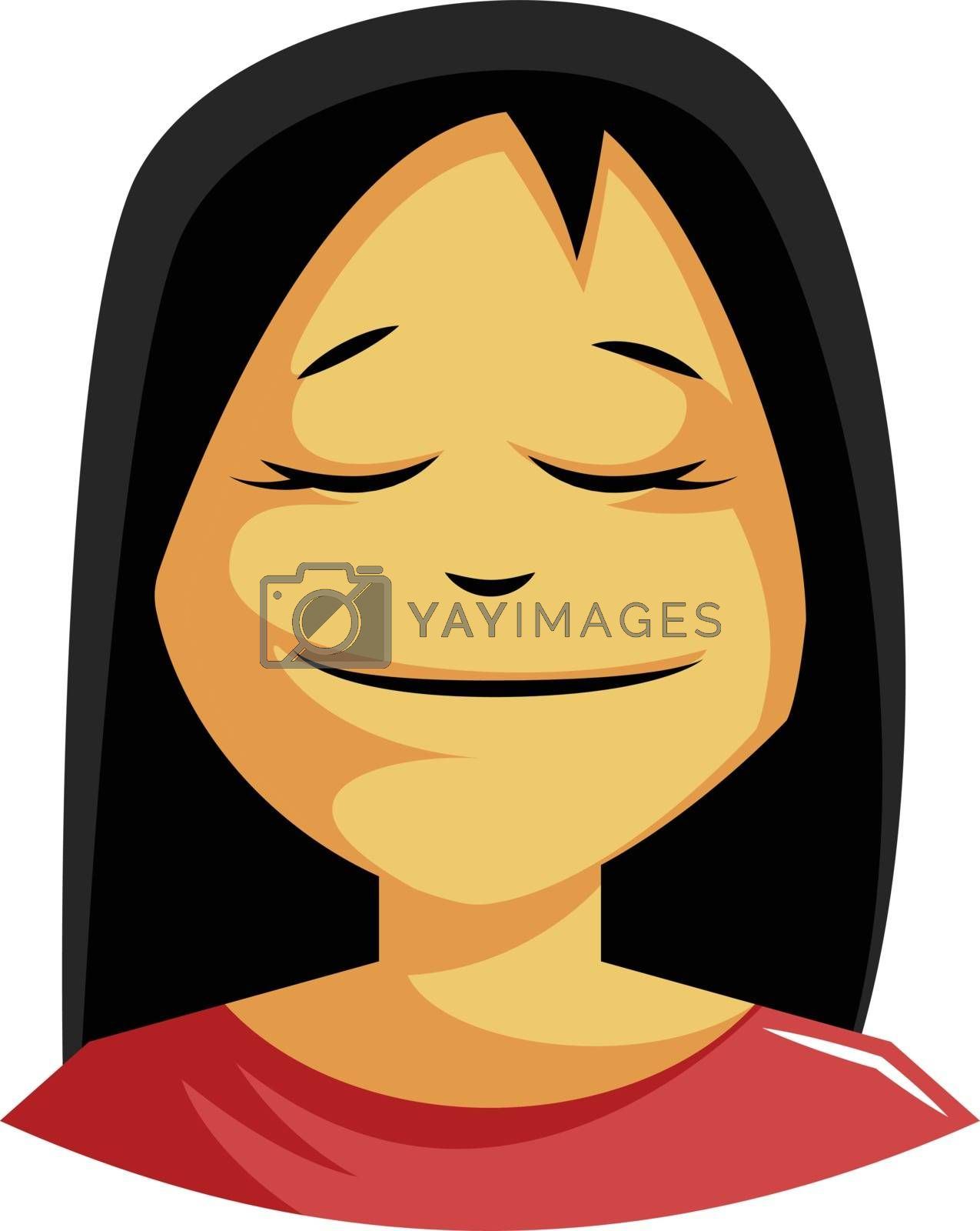 Royalty free image of Calm woman with a long black hair illustration vector on white b by Morphart