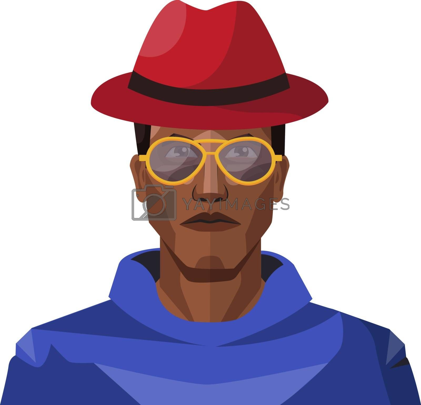 Royalty free image of Pretty looking guy wearing red hat and sunglasses illustration v by Morphart