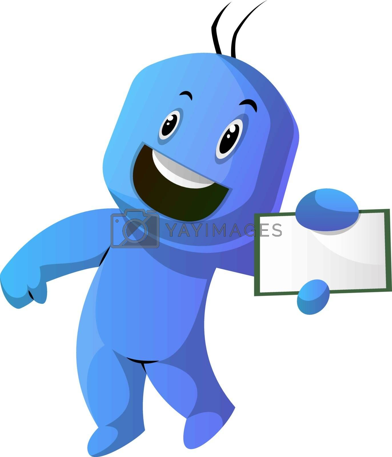 Royalty free image of Dancing blue cartoon caracter with a notepad illustration vector by Morphart