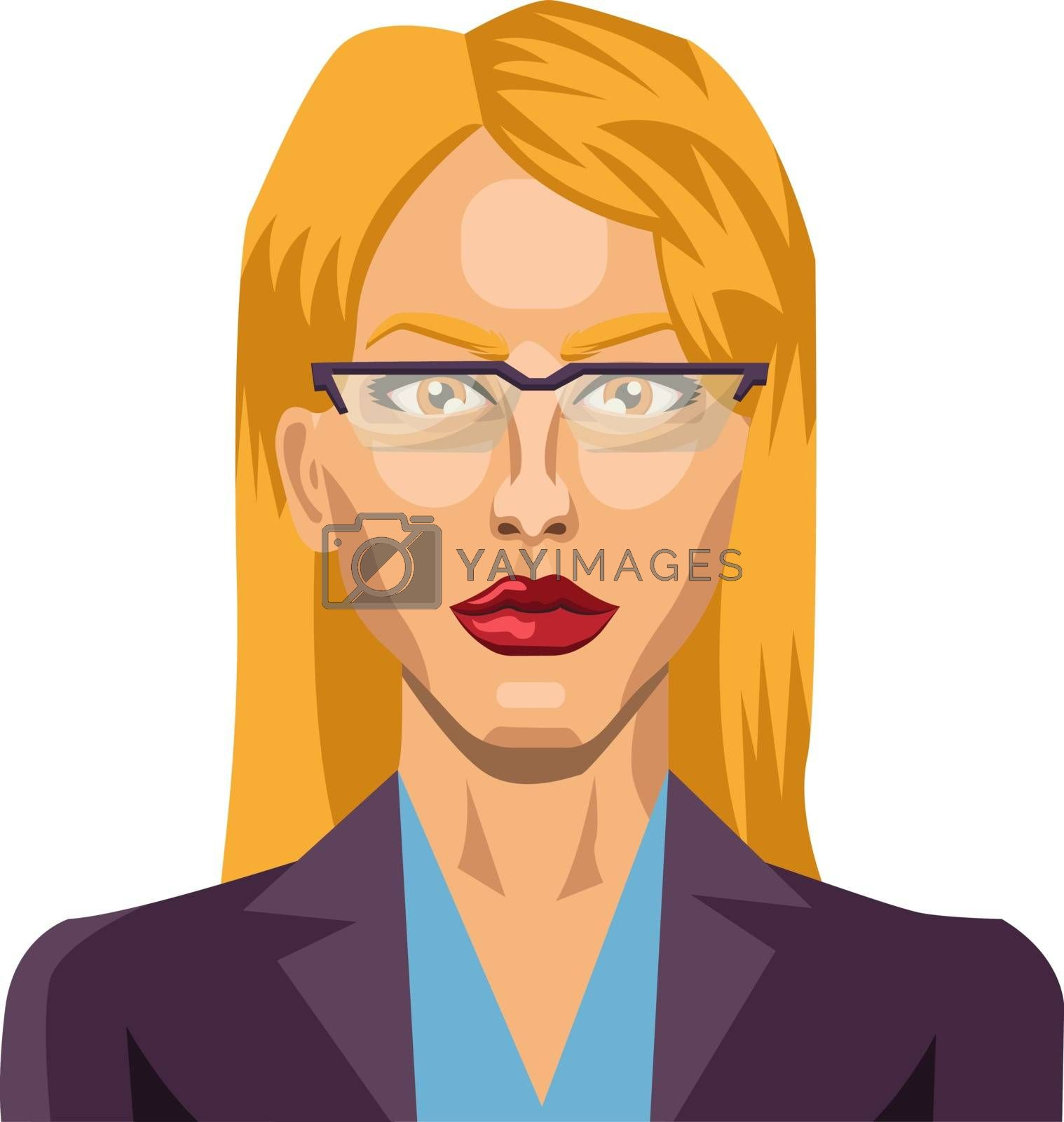 Royalty free image of Blonde girl with glasses illustration vector on white background by Morphart