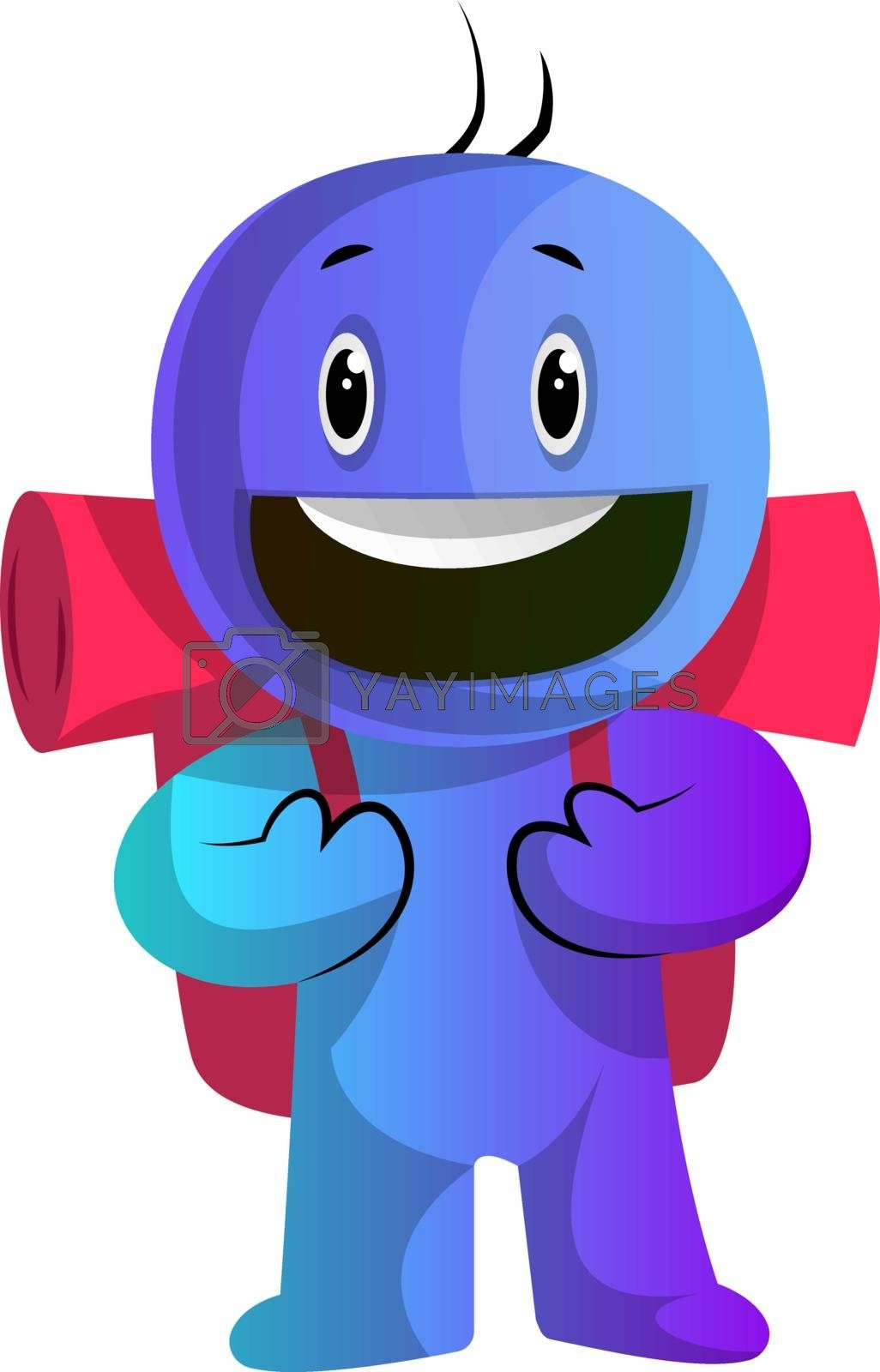 Royalty free image of Blue cartoon caracter with a backpack illustration vector on whi by Morphart
