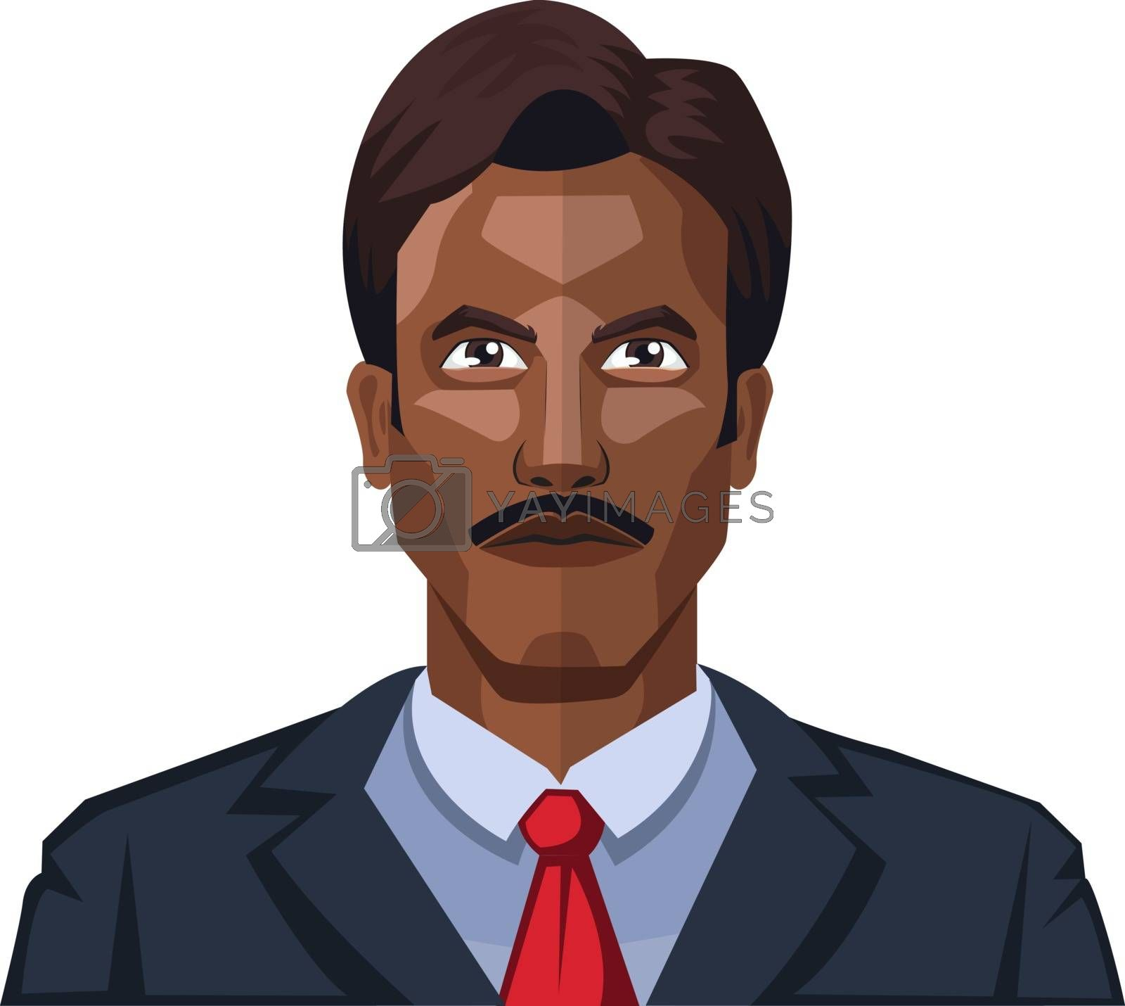 Royalty free image of Handsome man with moustaches illustration vector on white backgr by Morphart