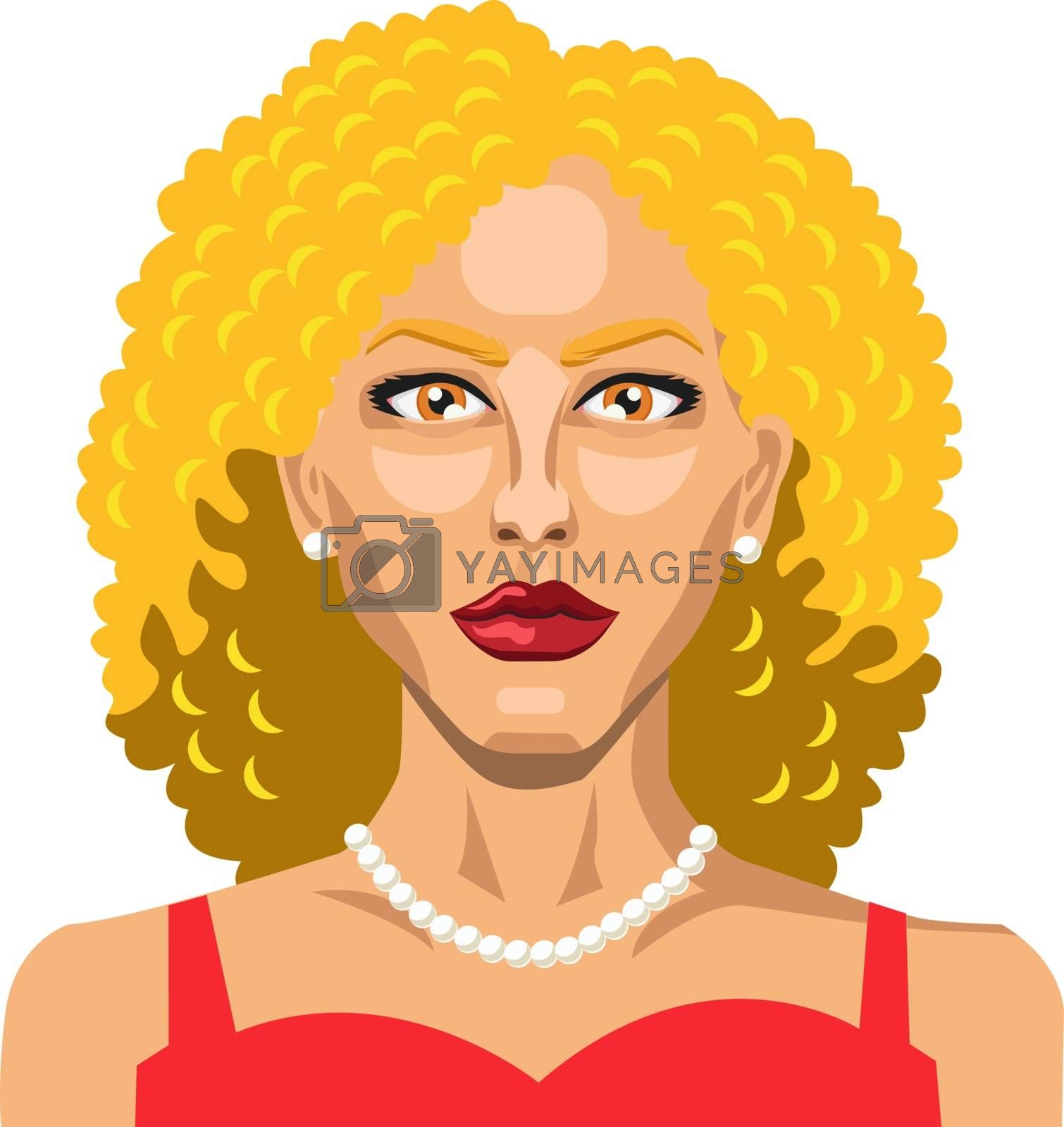 Royalty free image of Blonde girl with a red dress illustration vector on white backgr by Morphart