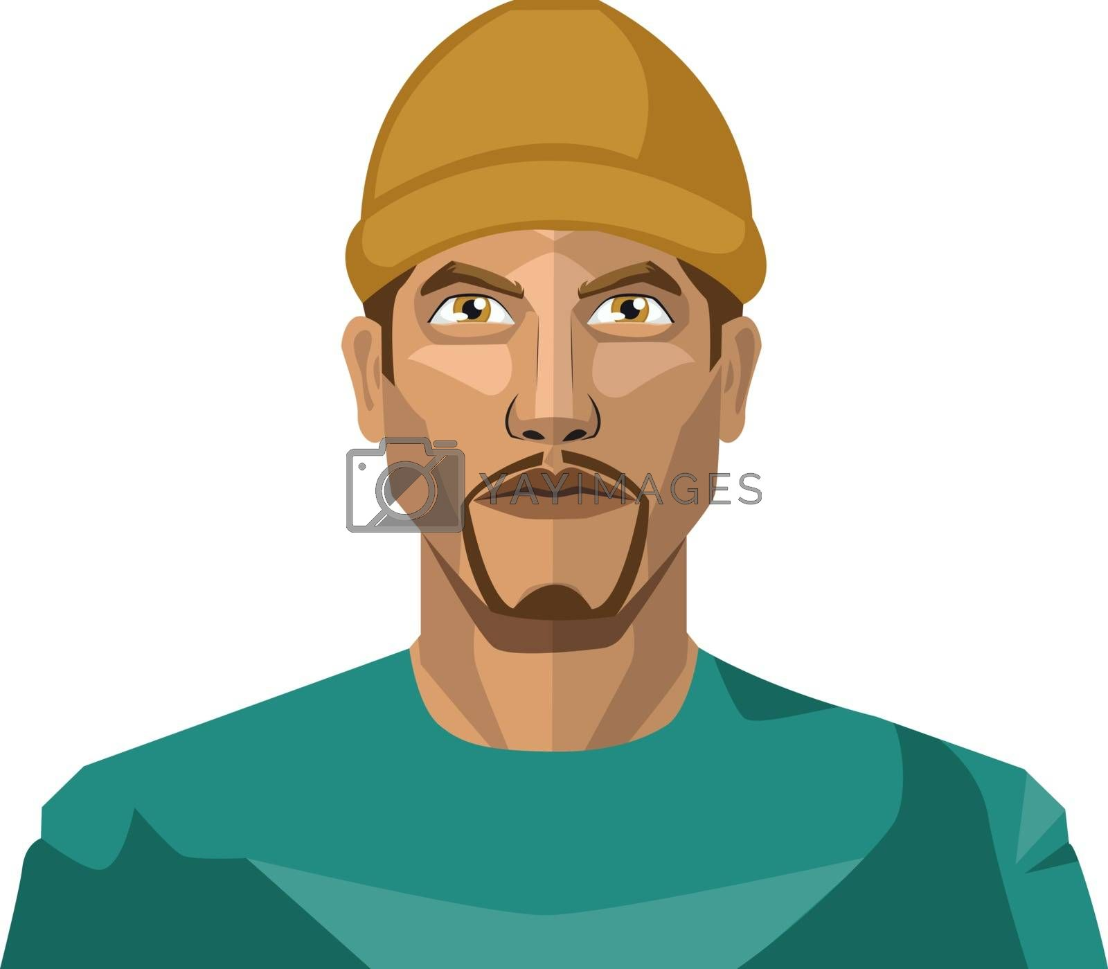 Royalty free image of Guy with a goatee beard wearing a brown hat illustration vector  by Morphart