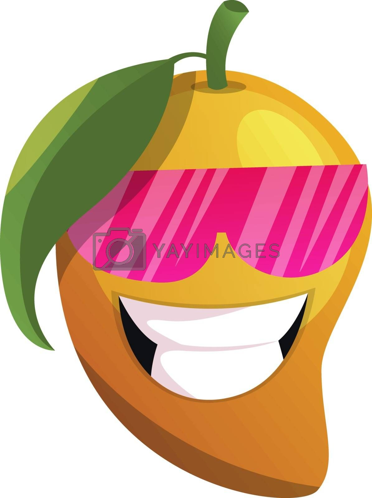 Royalty free image of Mango cartoon with pink sunglasses illustration vector on white  by Morphart