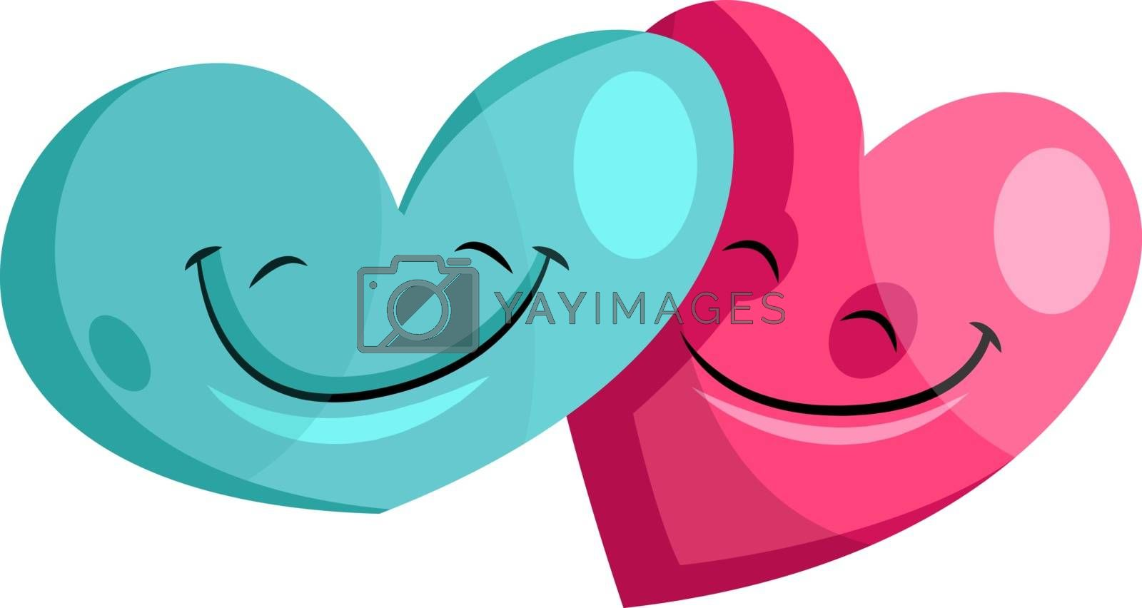 Royalty free image of Blue and pink heart in love illustration vector on white backgro by Morphart