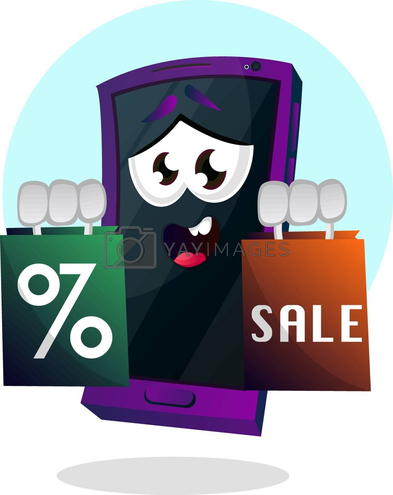 Royalty free image of Mobile emoji holding a sale sign illustration vector on white ba by Morphart