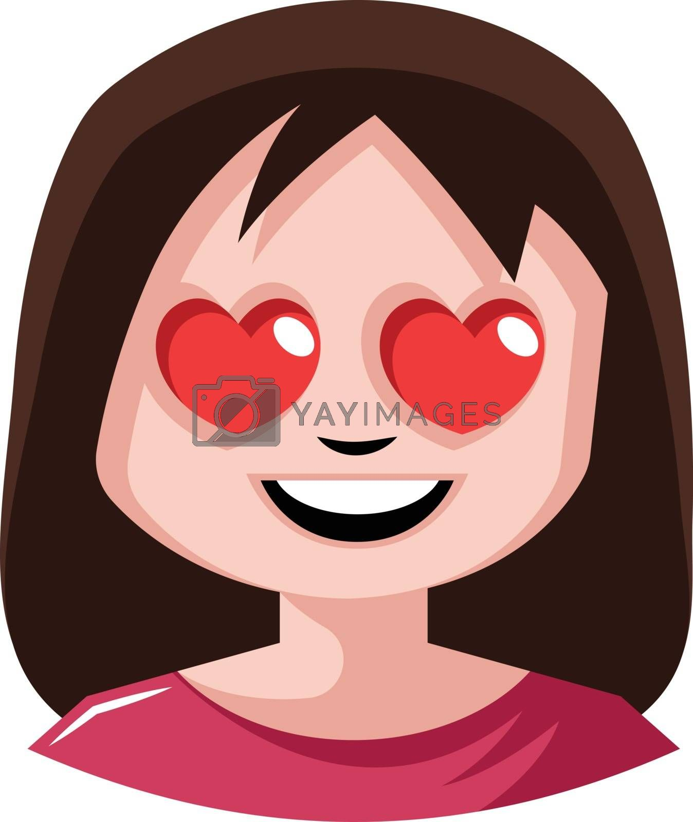 Royalty free image of Girl with heart shaped eyes illustration vector on white backgro by Morphart