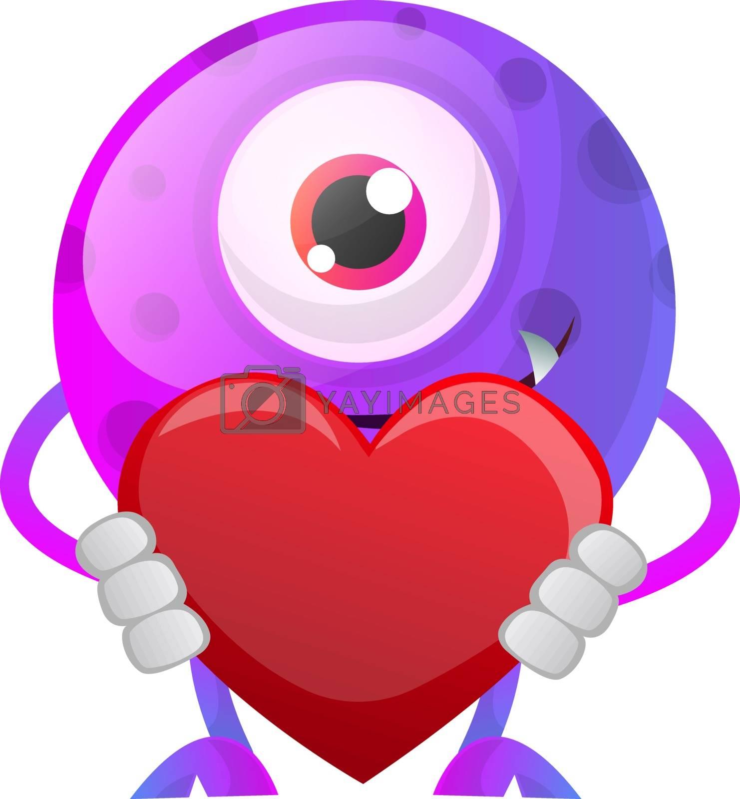 Royalty free image of Purple monster holding heart illustration vector on white backgr by Morphart