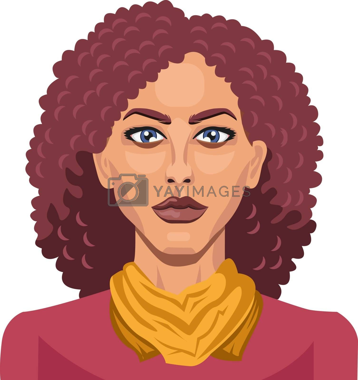 Royalty free image of Pretty girl with curly red hair illustration vector on white bac by Morphart