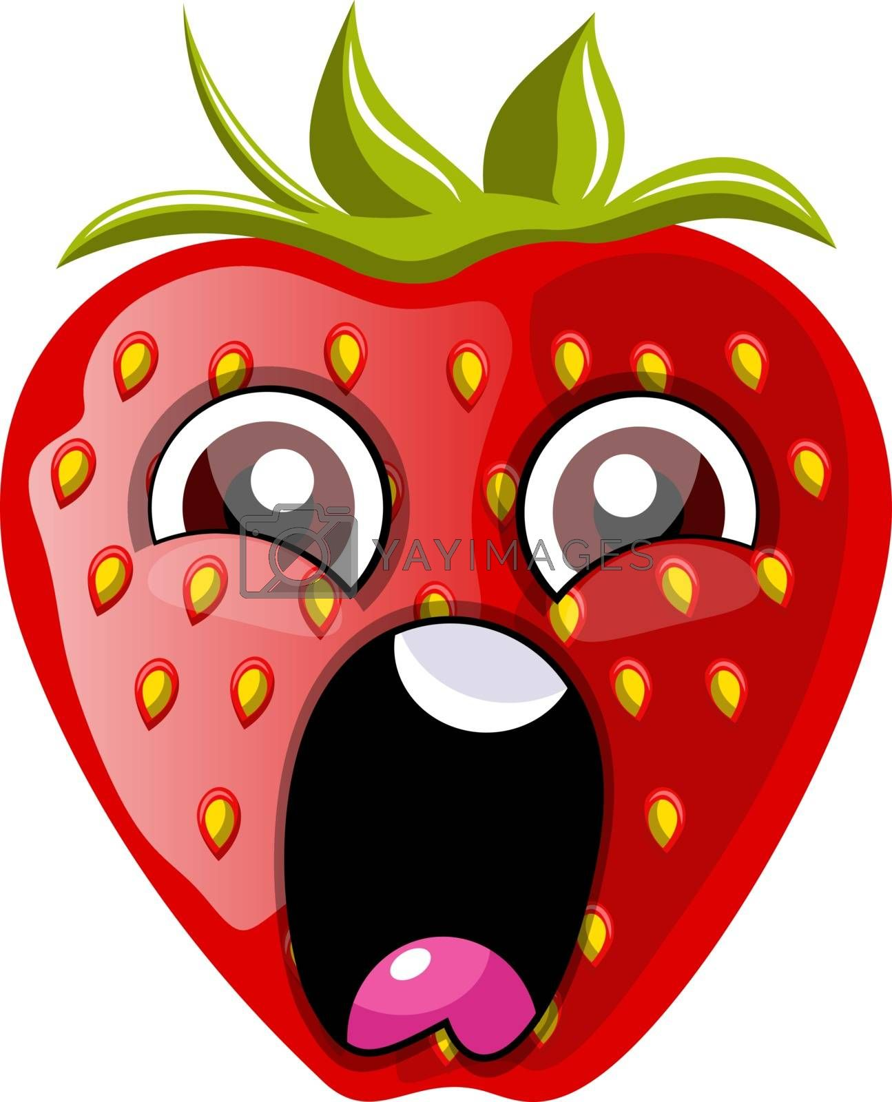Royalty free image of Screaming red strawberry illustration vector on white background by Morphart