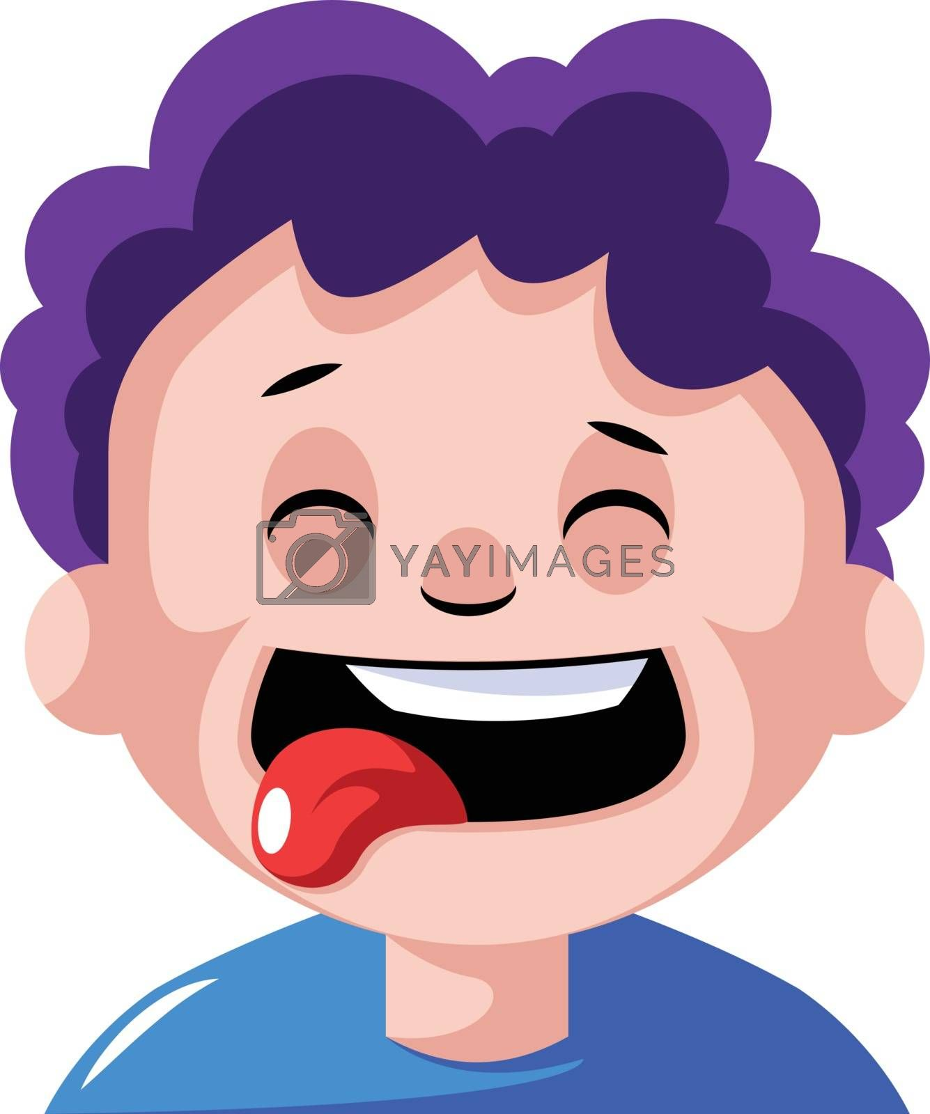 Royalty free image of Boy with curly purple hair is craving some food illustration vec by Morphart