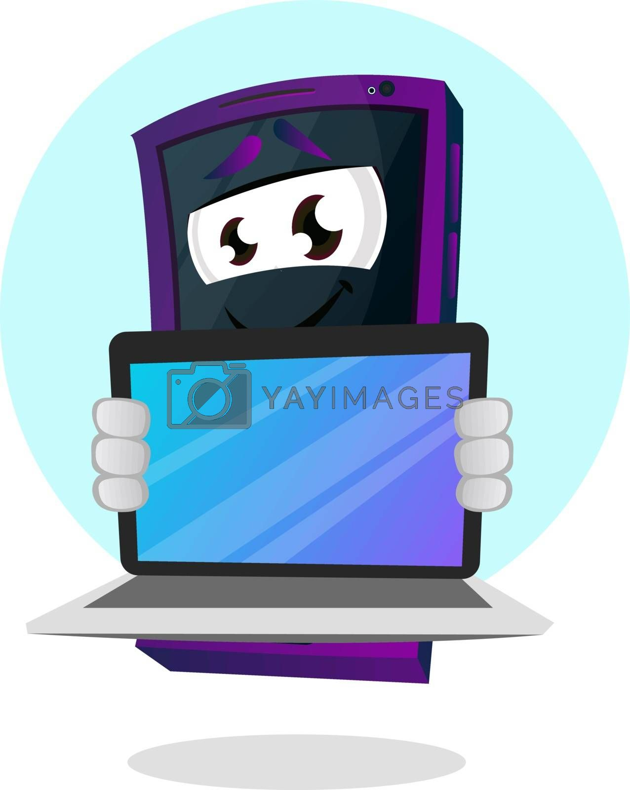 Royalty free image of Mobile emoji showing his laptop illustration vector on white bac by Morphart