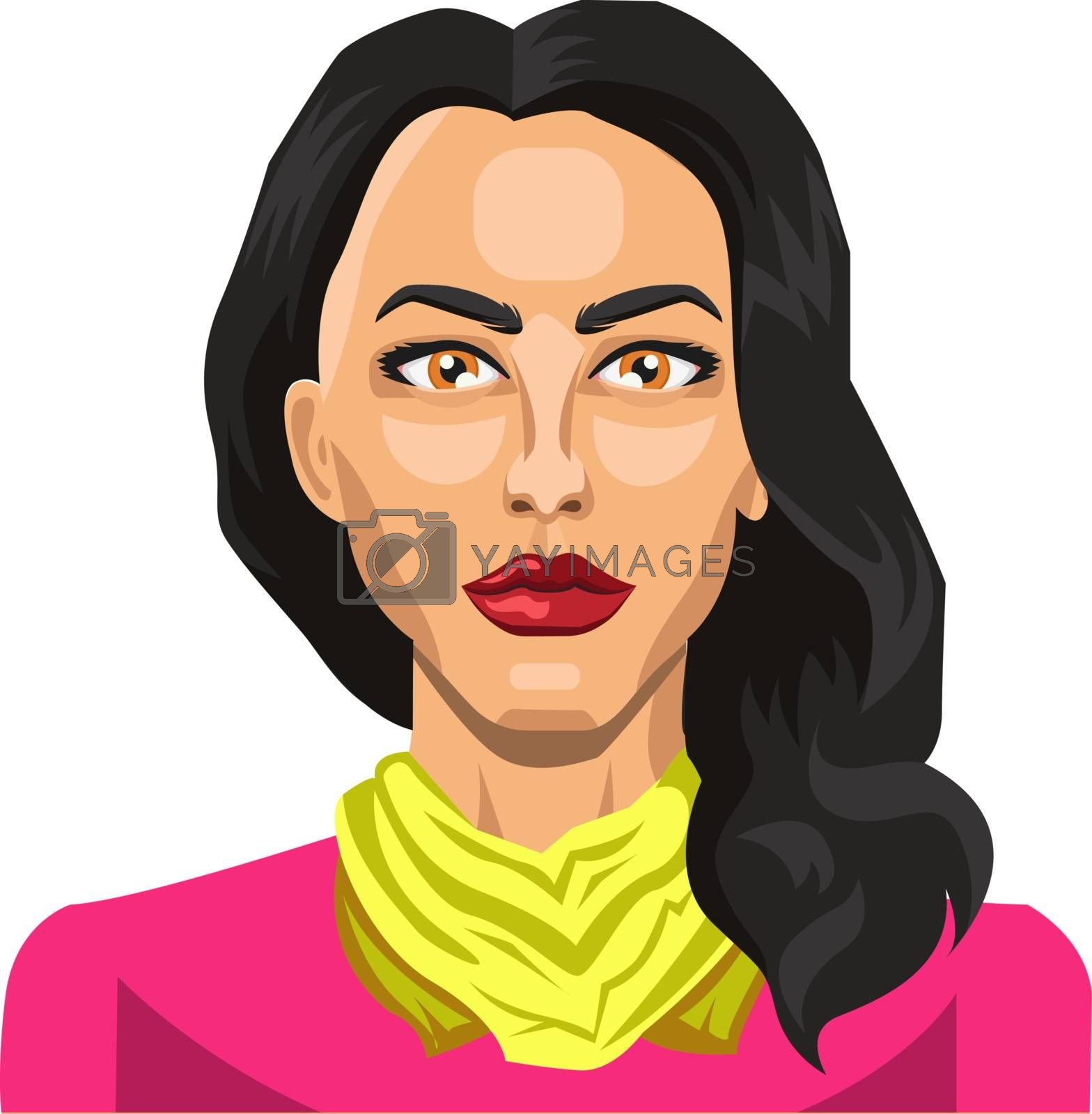 Royalty free image of Girl with long black hair illustration vector on white backgroun by Morphart