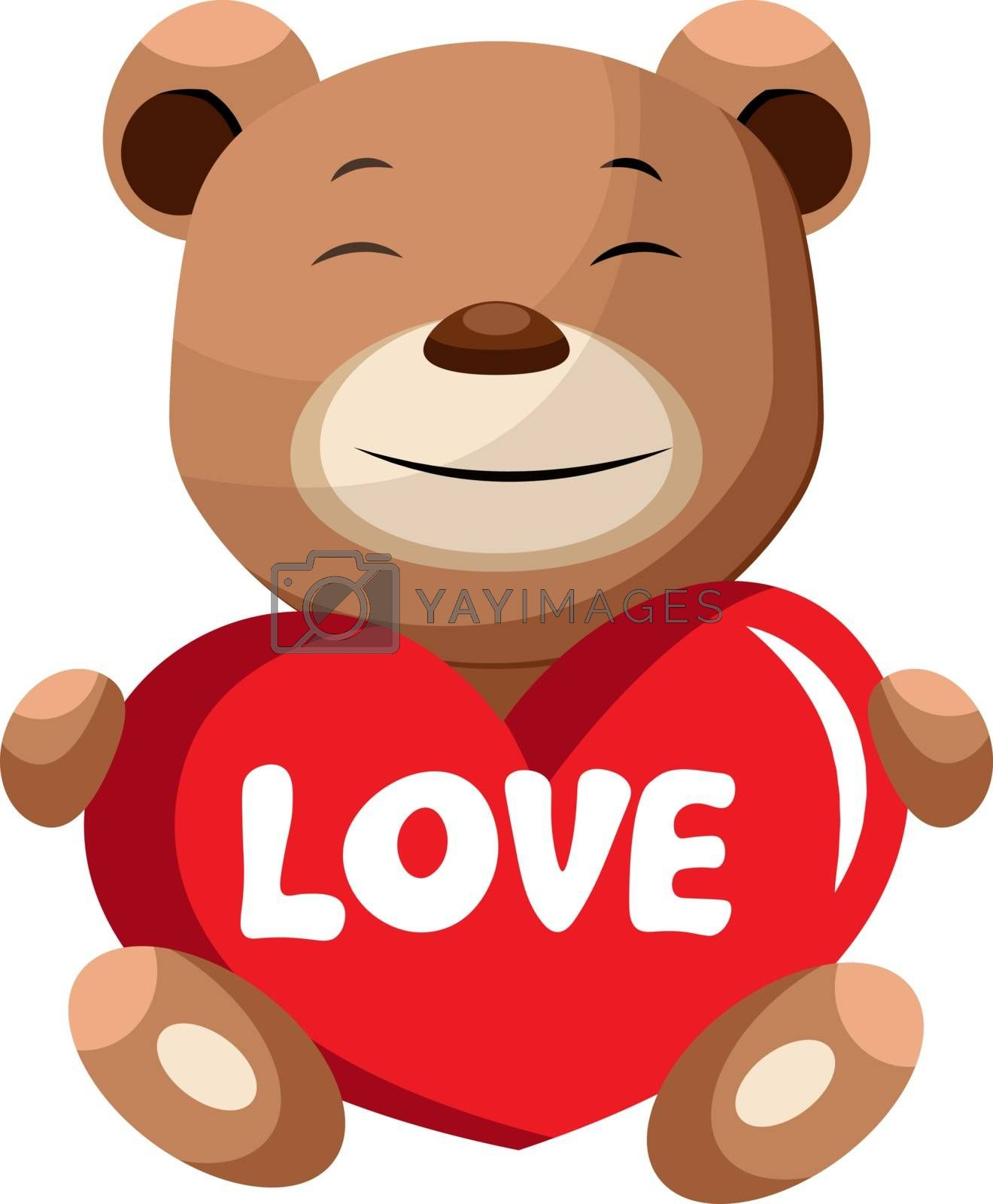 Royalty free image of Brown bear holding heart that says love illustration vector on w by Morphart