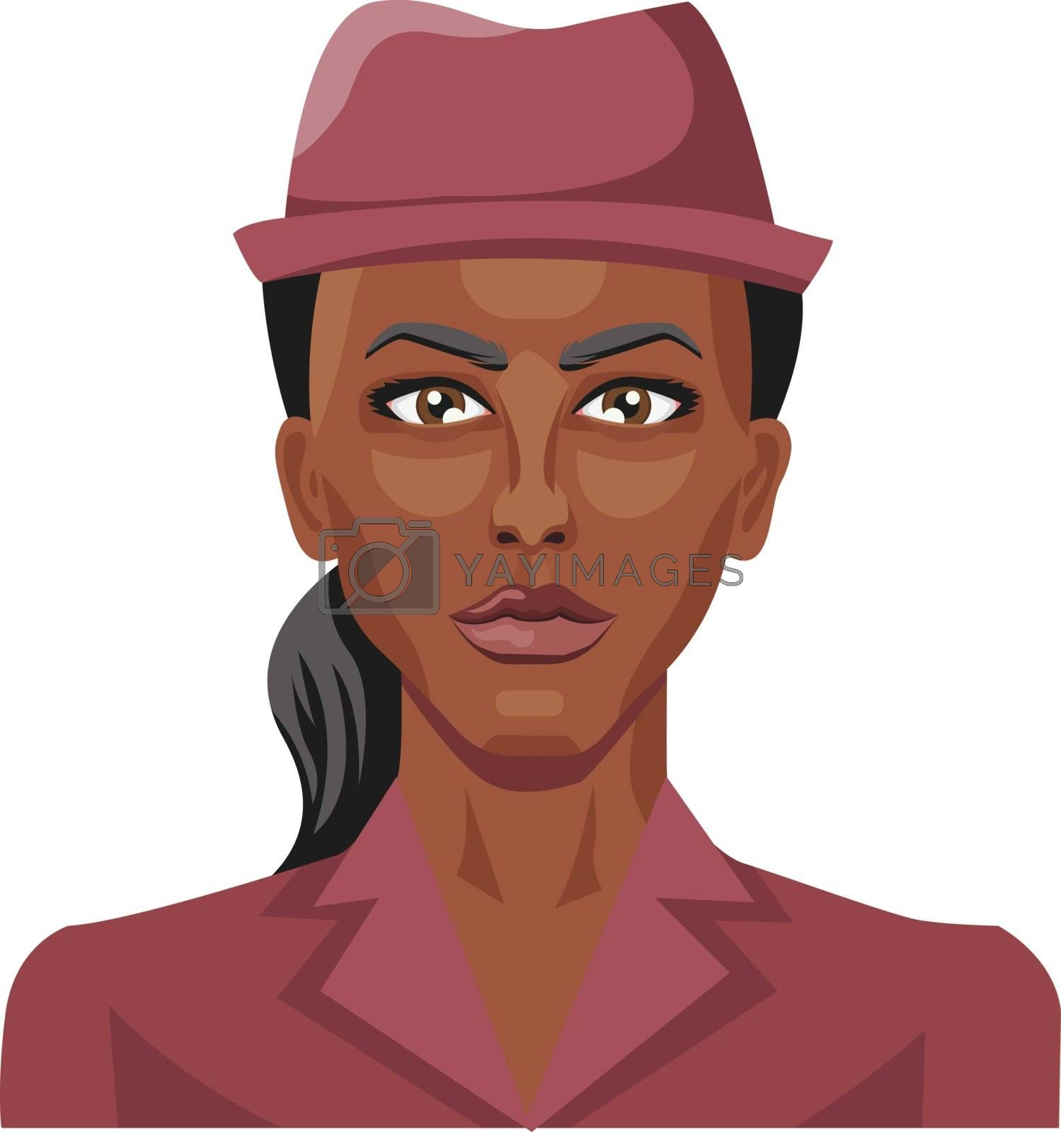 Royalty free image of Pretty african girl wearing a hat illustration vector on white b by Morphart