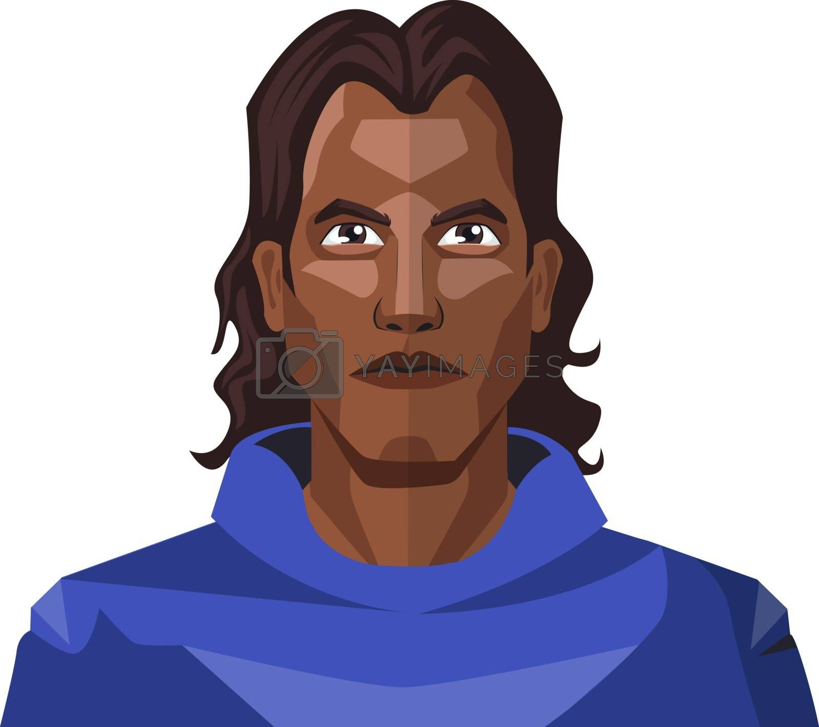 Royalty free image of Man with a long black hair and blue hoody illustration vector on by Morphart