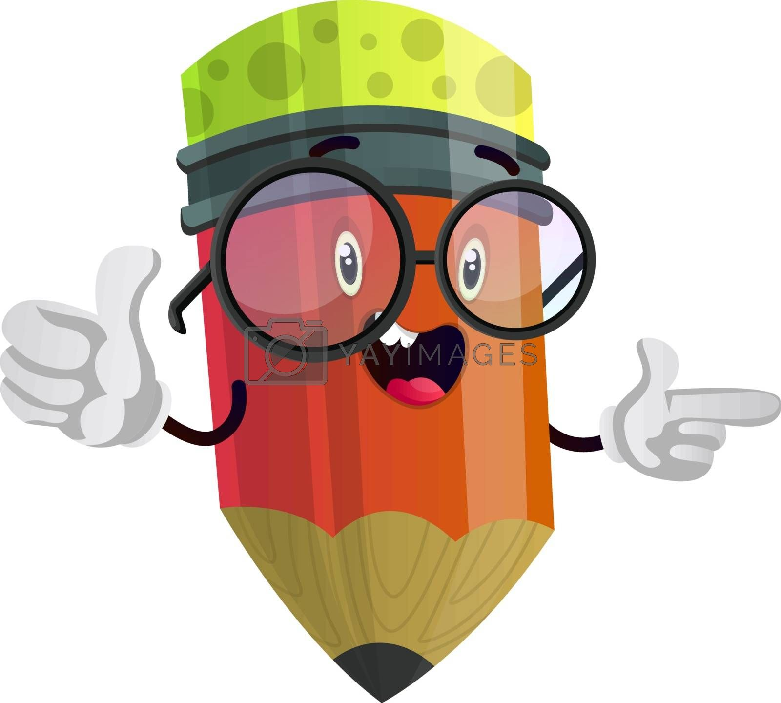 Royalty free image of Red pencil is holding thumbs up and pointing at something illust by Morphart