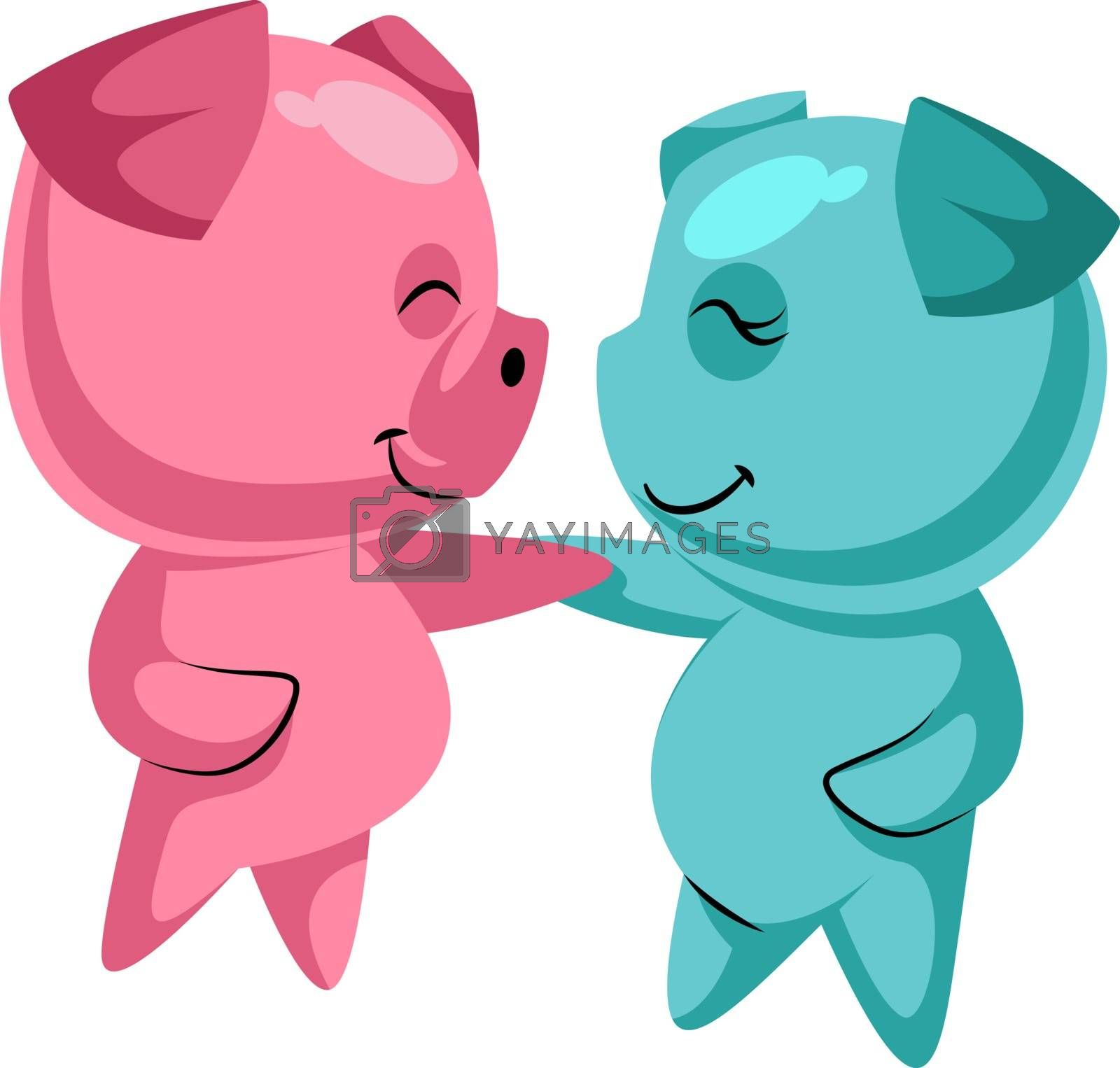 Royalty free image of Couple of cute pigs in love illustration vector on white backgro by Morphart