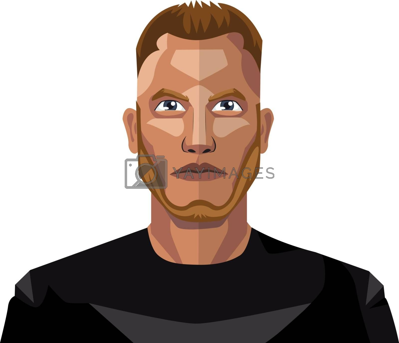 Royalty free image of Young male with beard and short hair illustration vector on whit by Morphart