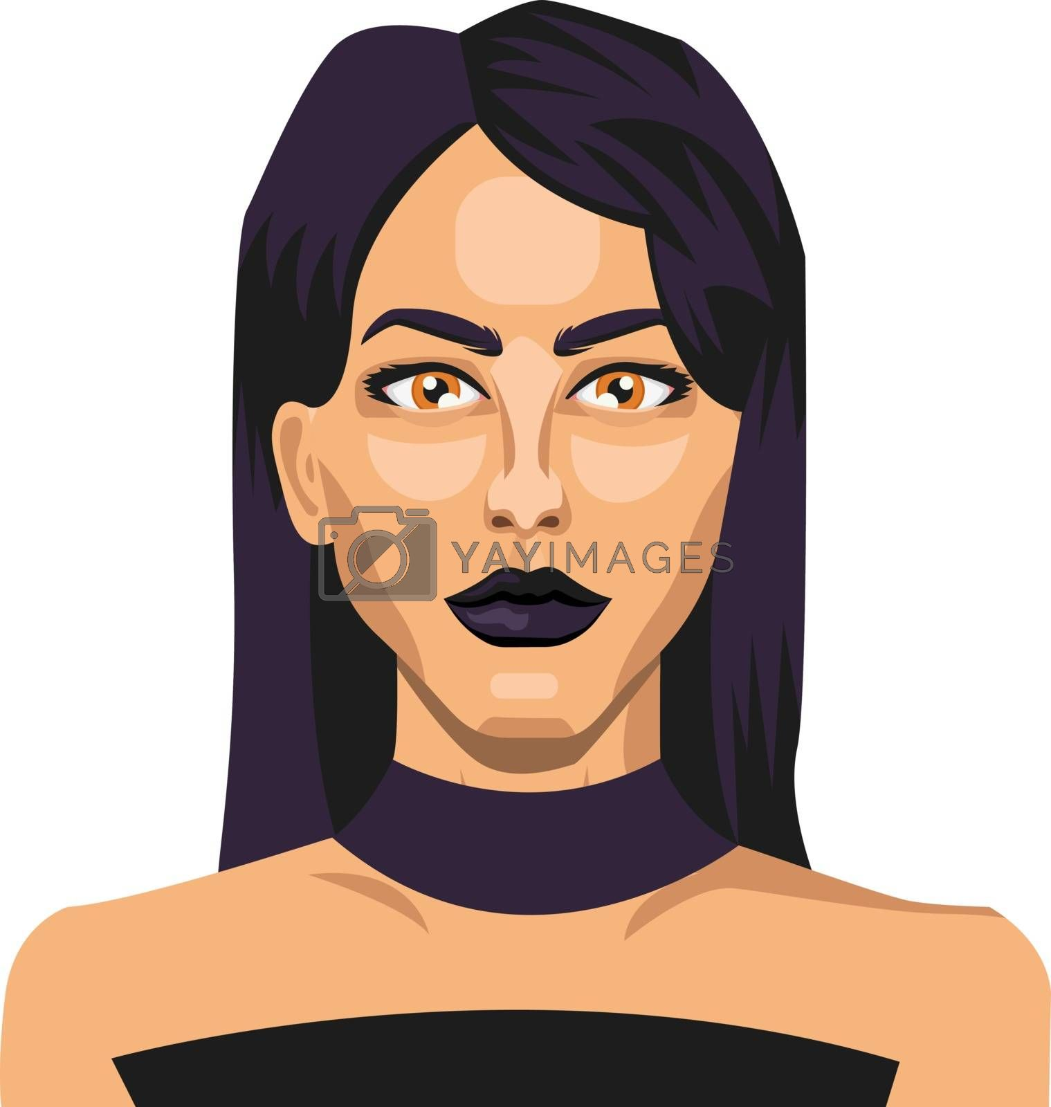 Royalty free image of Beautiful girl with blue hair illustration vector on white backg by Morphart