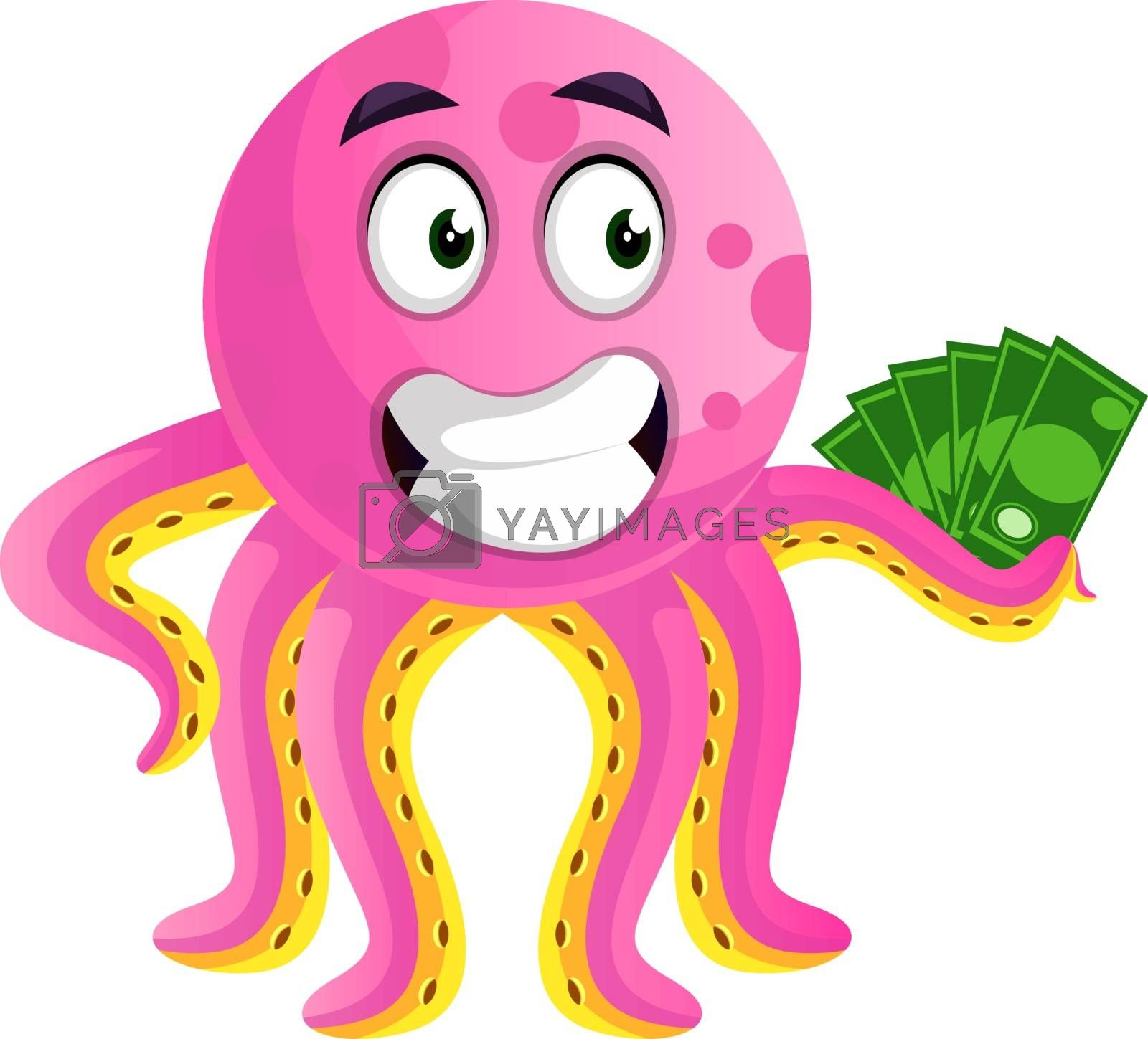 Royalty free image of Octopus hodling money illustration vector on white background by Morphart