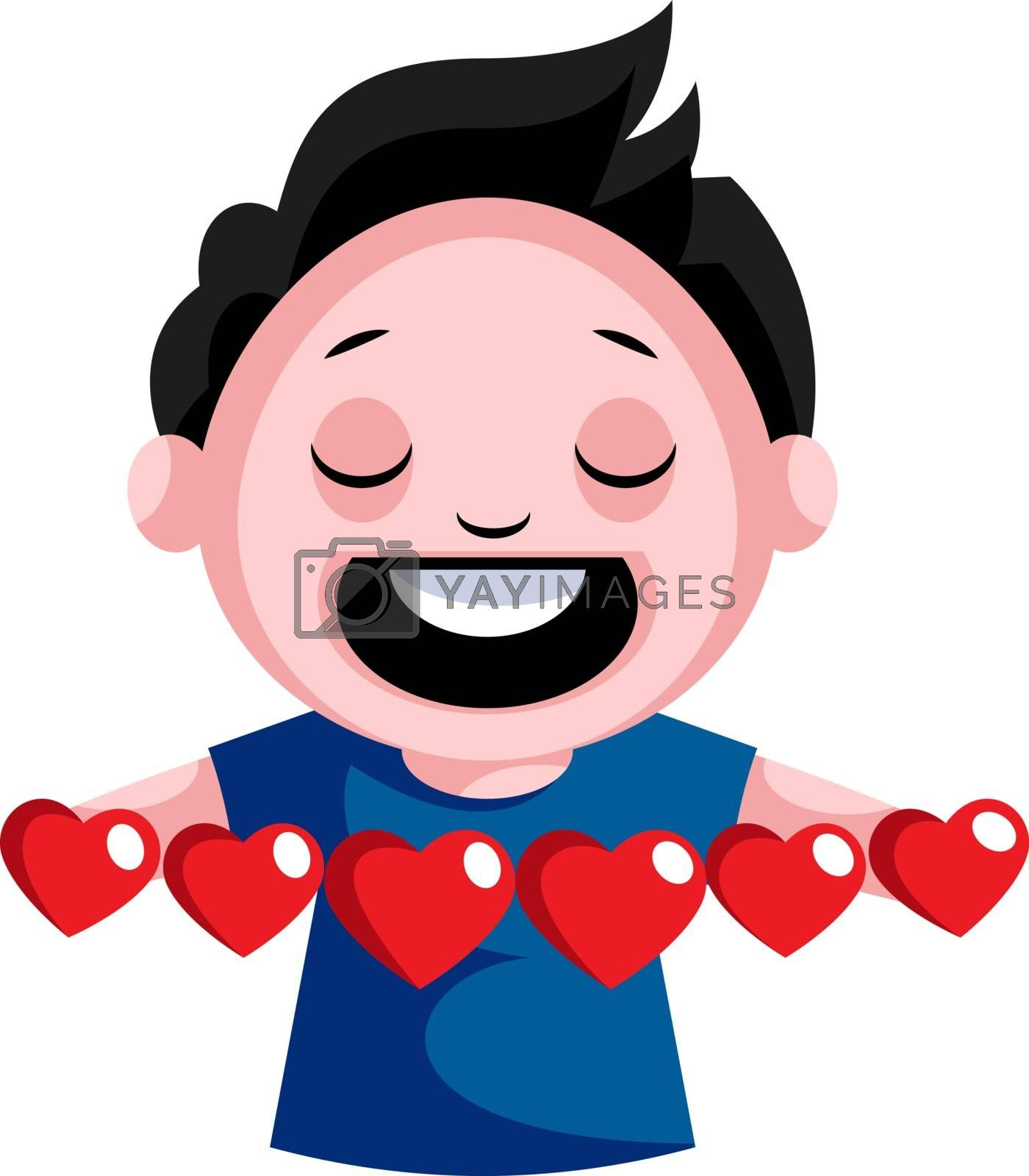 Royalty free image of Black haired boy with multiple hearts in his hands illustration  by Morphart