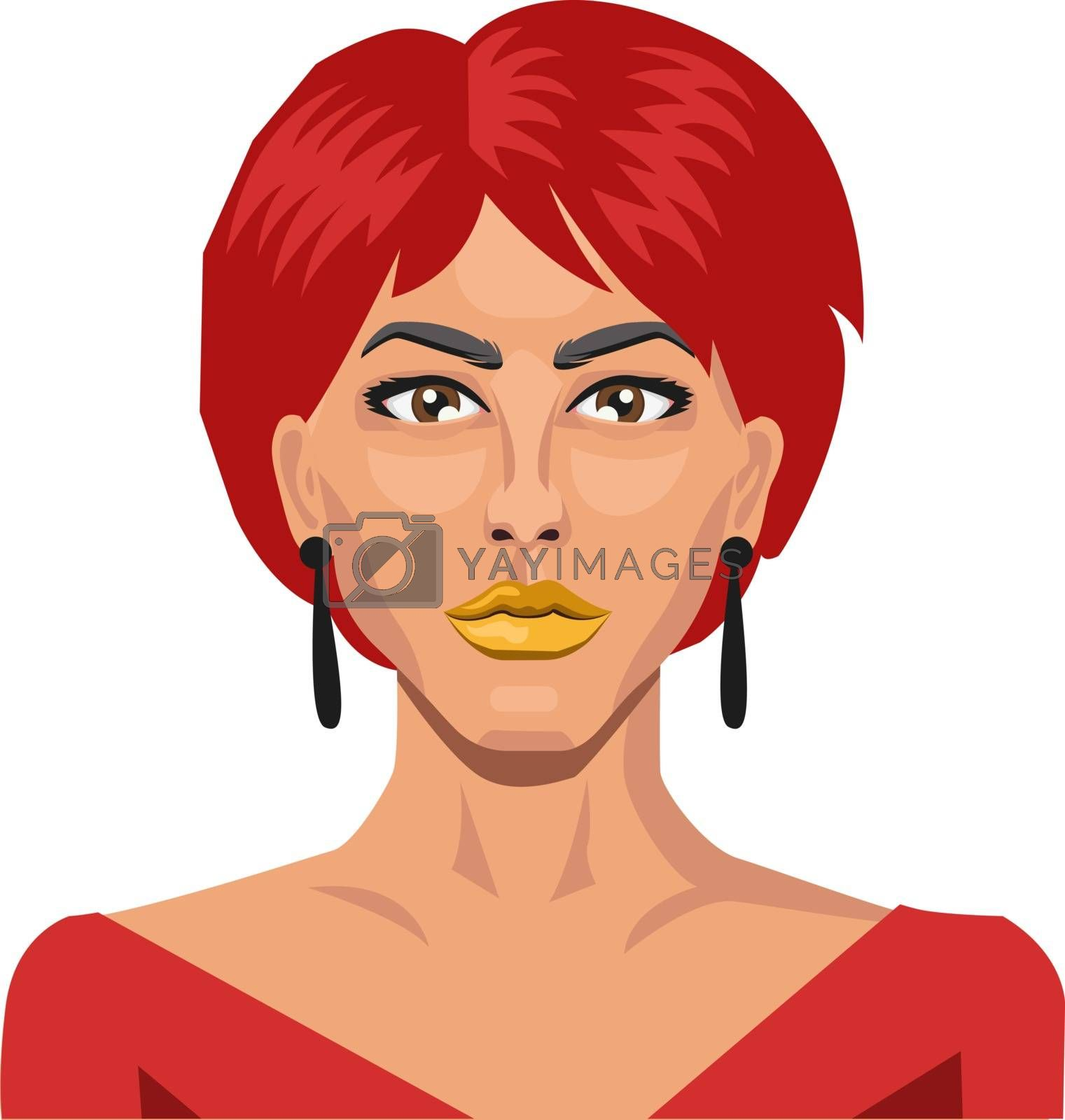 Royalty free image of Beautiful girl with short red hair illustration vector on white  by Morphart