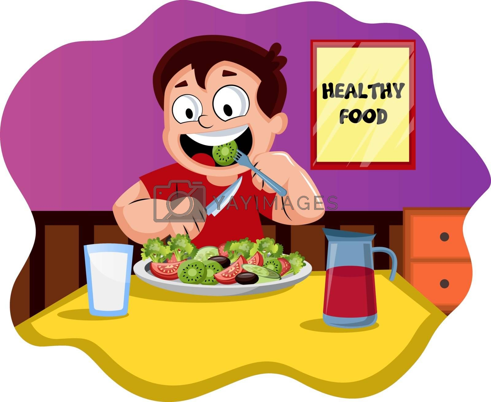 Royalty free image of Happy boy eating healthy food illustration vector on white backg by Morphart