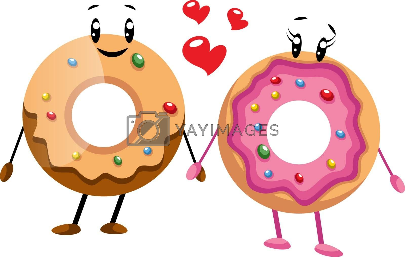 Royalty free image of Couple of donut in love illustration vector on white background by Morphart