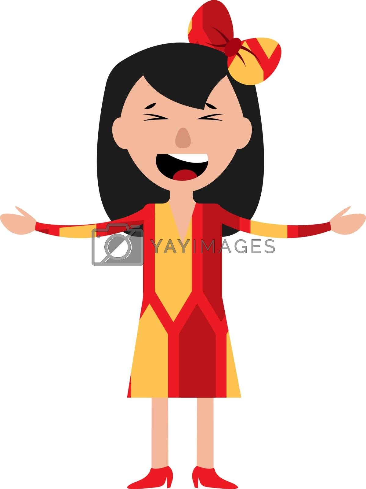 Royalty free image of A happy young girl singing illustration vector on white backgrou by Morphart