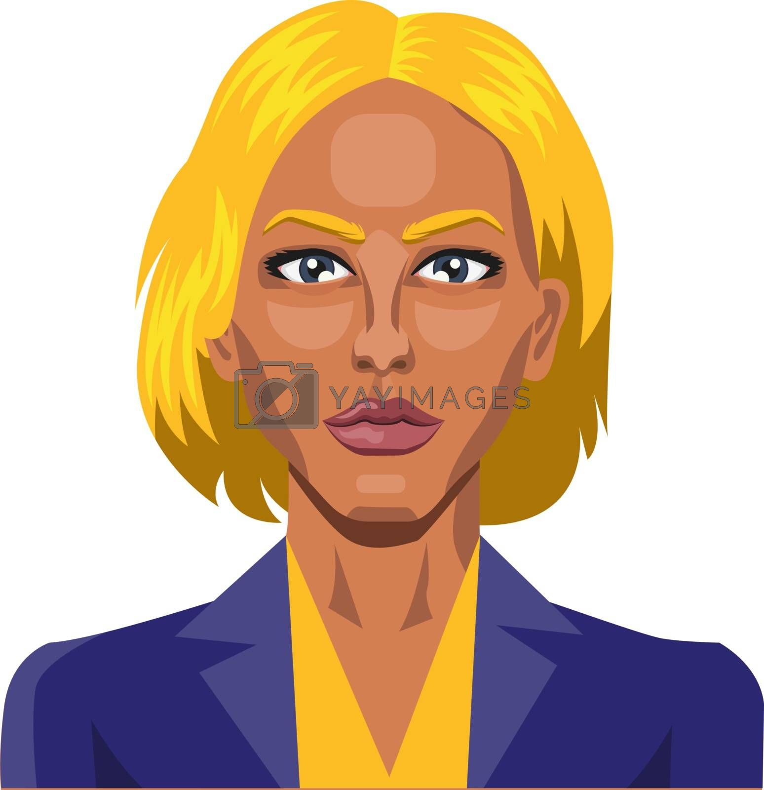 Royalty free image of Girl with yellow hair and eyebrows illustration vector on white  by Morphart