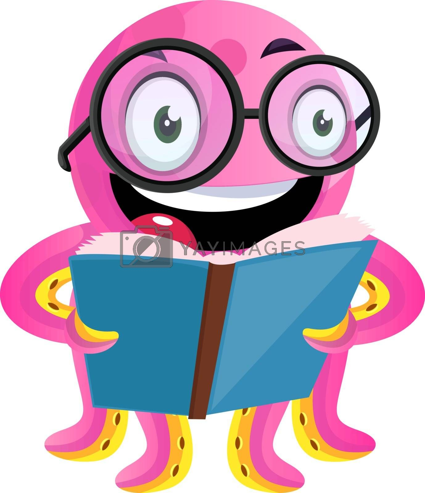 Royalty free image of Happy geek octopus reading a book illustration vector on white b by Morphart