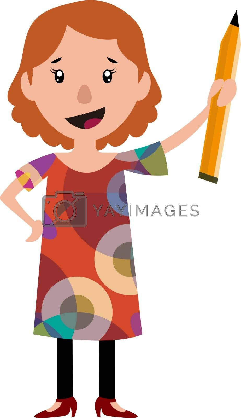Royalty free image of Woman in dress holding a big pencil illustration vector on white by Morphart