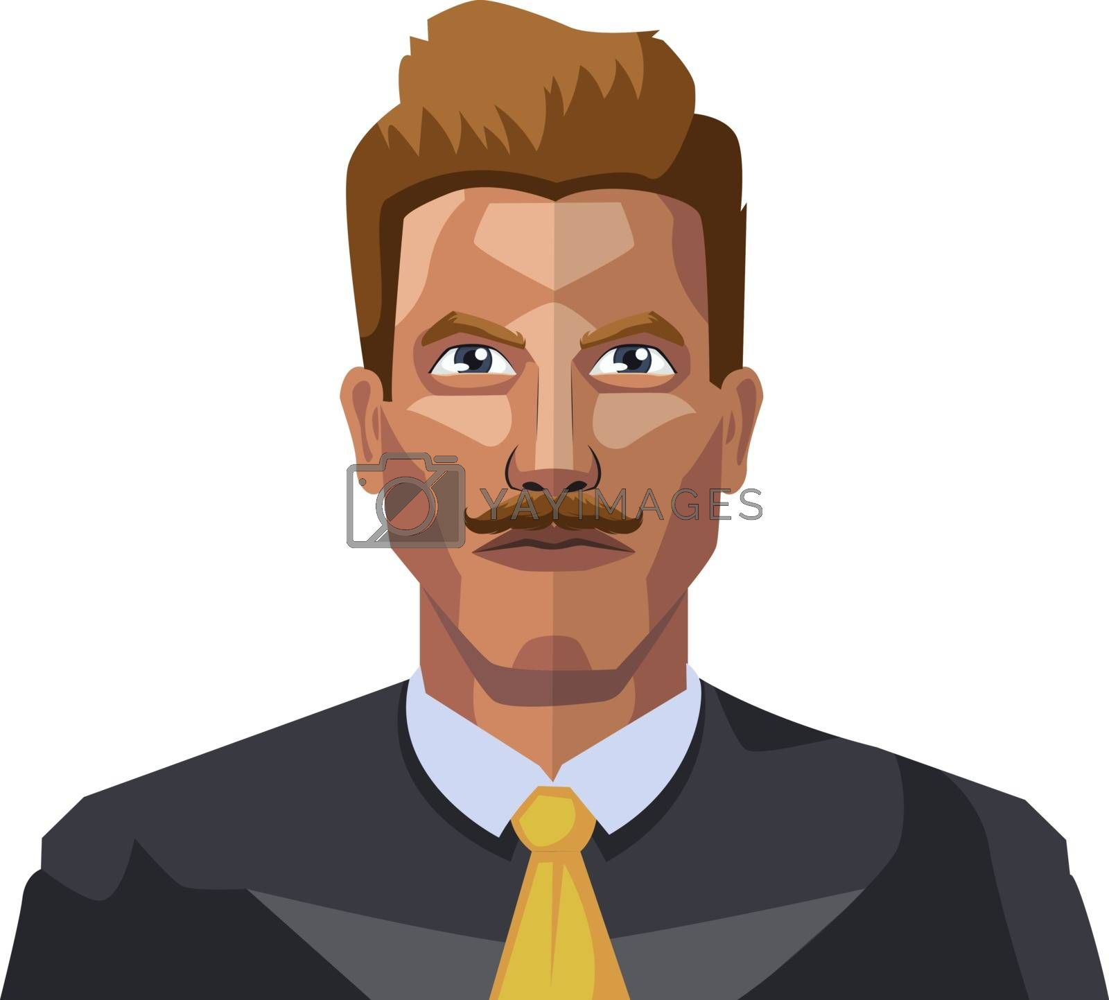 Royalty free image of Guy in a suite wiyh mustaches illustration vector on white backg by Morphart