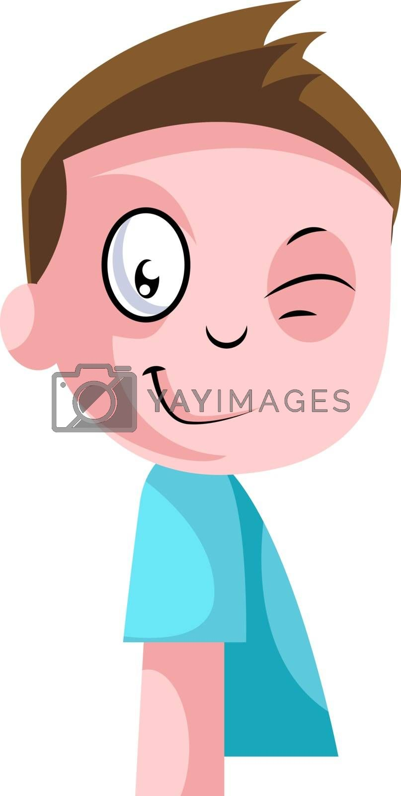 Royalty free image of Little boy in blue top winking illustration vector on white back by Morphart