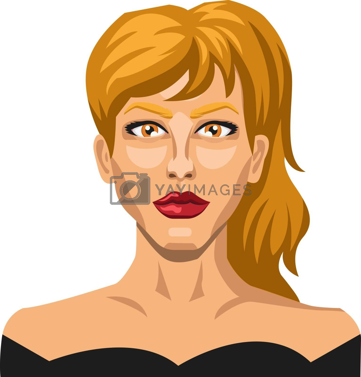 Royalty free image of Beautiful blonde girl with pony tail illustration vector on whit by Morphart